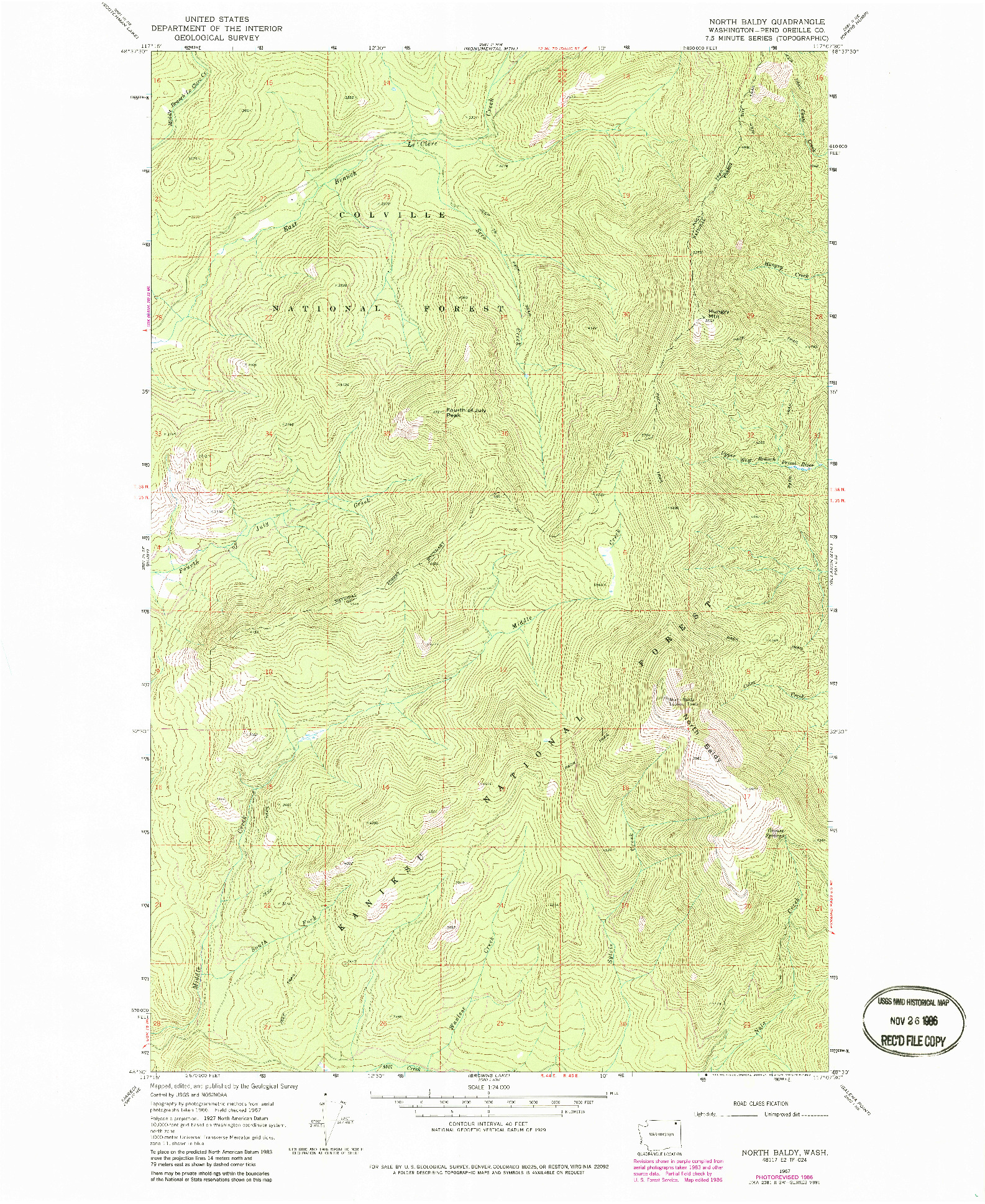 USGS 1:24000-SCALE QUADRANGLE FOR NORTH BALDY, WA 1967