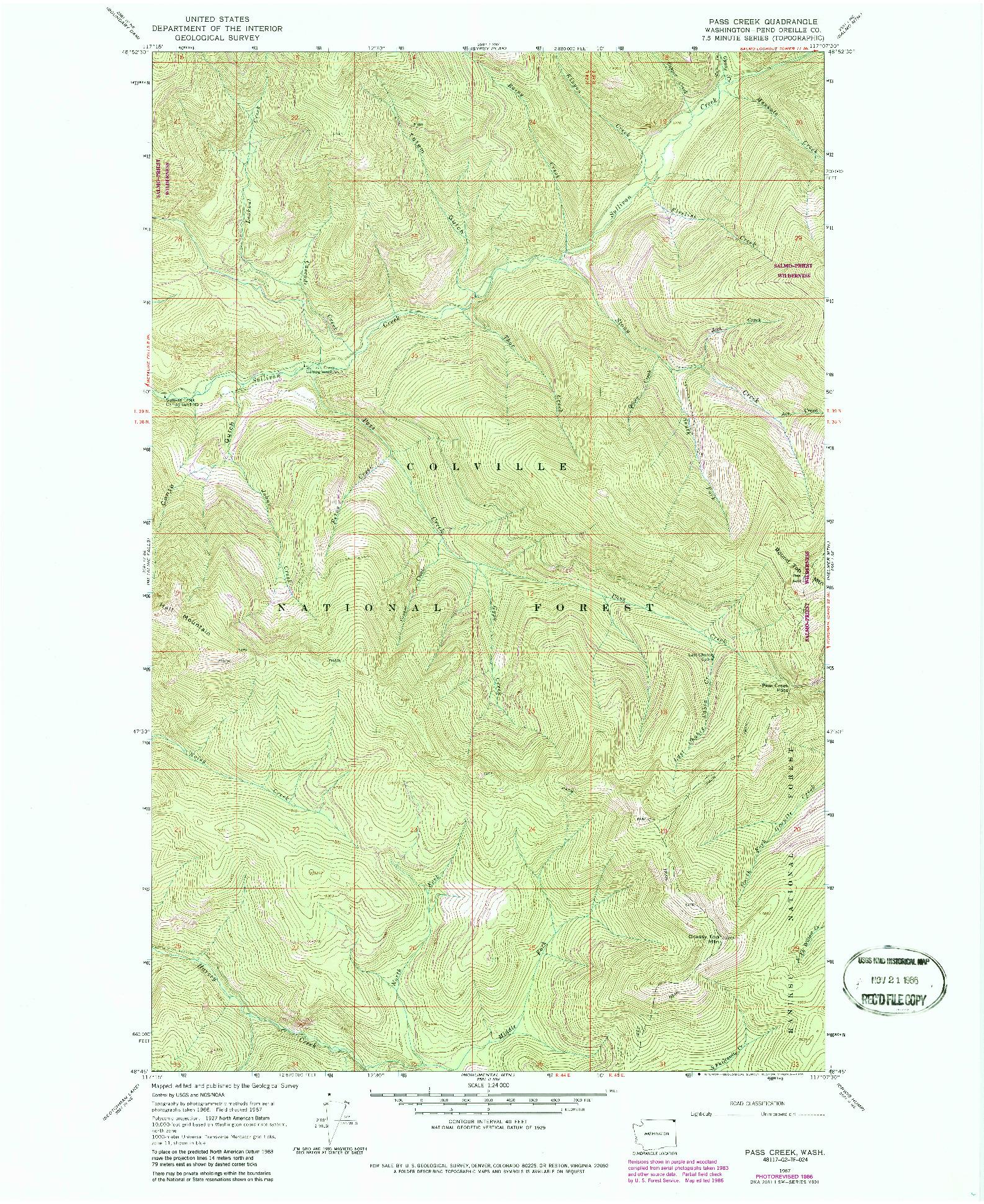 USGS 1:24000-SCALE QUADRANGLE FOR PASS CREEK, WA 1967
