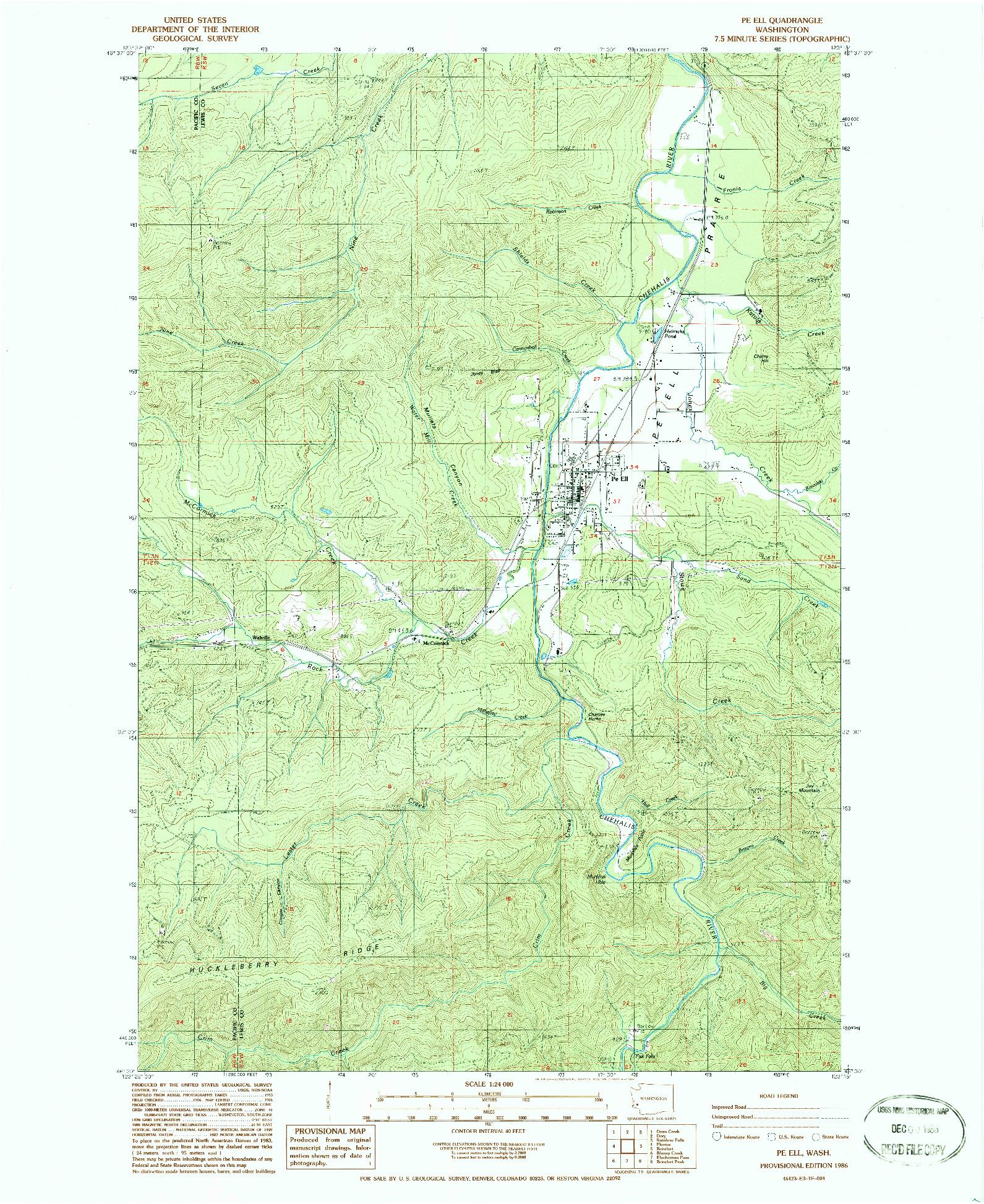 USGS 1:24000-SCALE QUADRANGLE FOR PE ELL, WA 1986