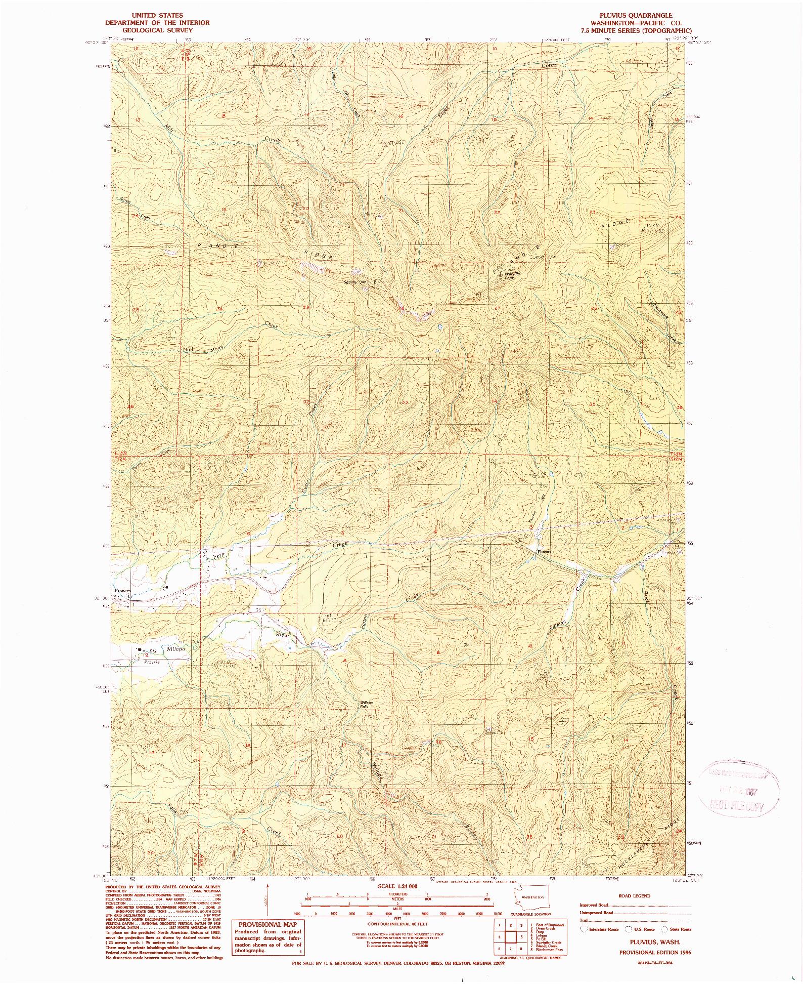 USGS 1:24000-SCALE QUADRANGLE FOR PLUVIUS, WA 1986