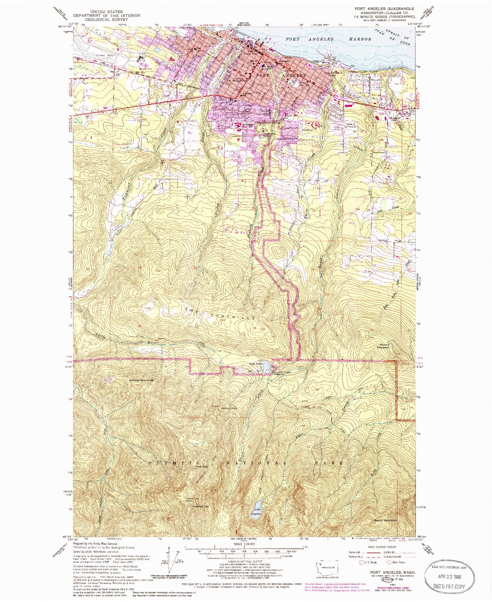 USGS 1:24000-SCALE QUADRANGLE FOR PORT ANGELES, WA 1961
