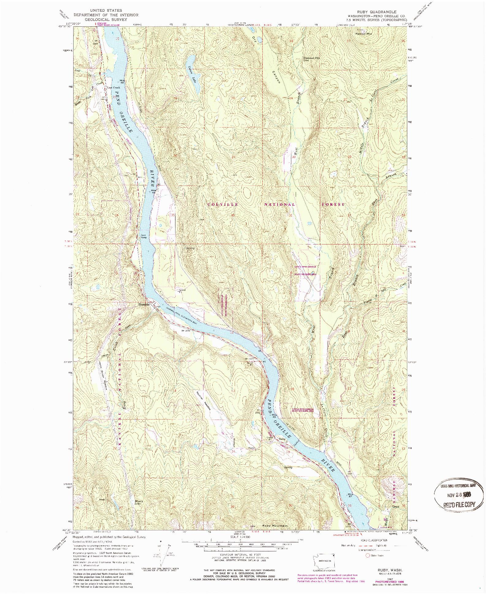 USGS 1:24000-SCALE QUADRANGLE FOR RUBY, WA 1967