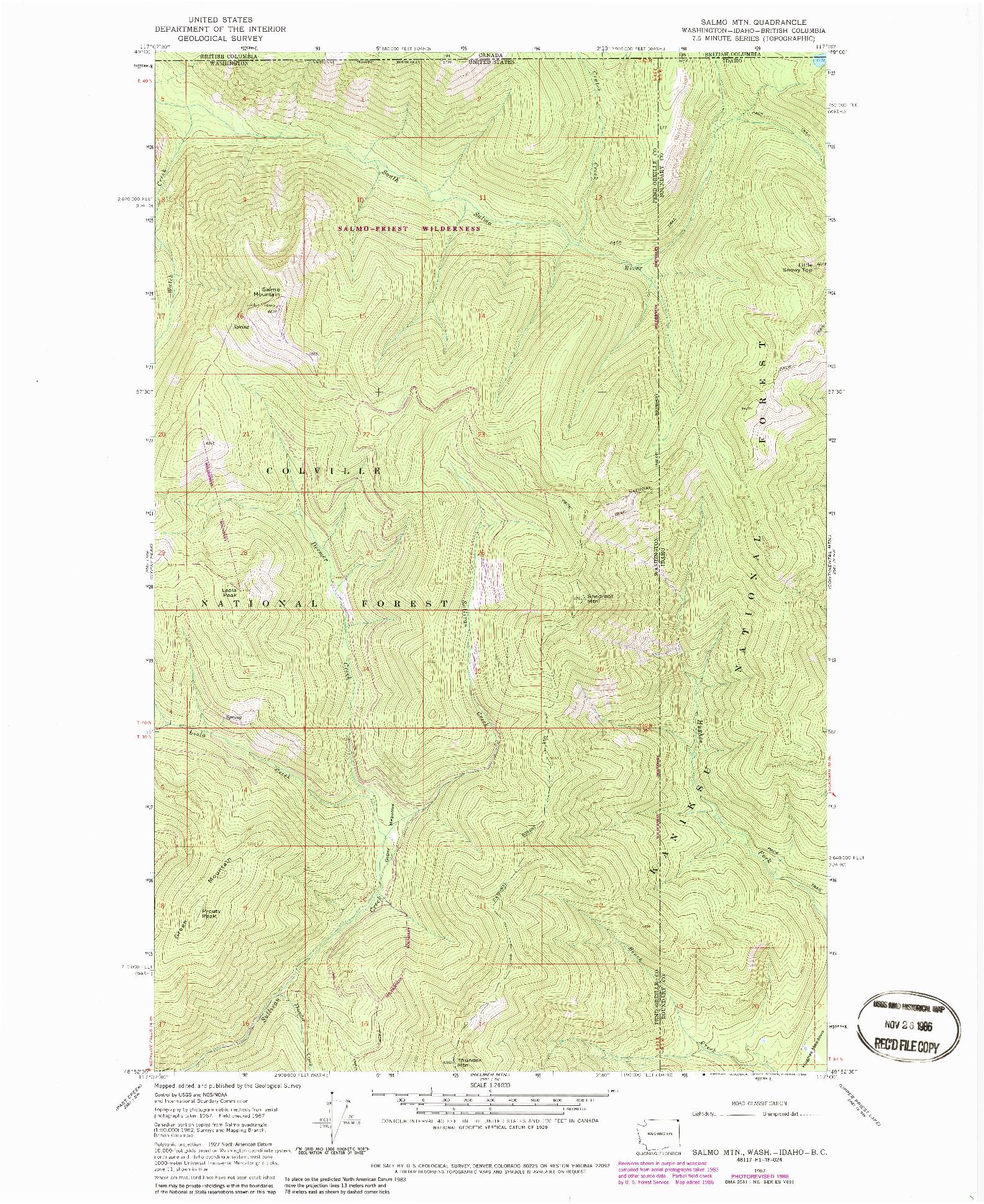 USGS 1:24000-SCALE QUADRANGLE FOR SALMO MTN., WA 1967