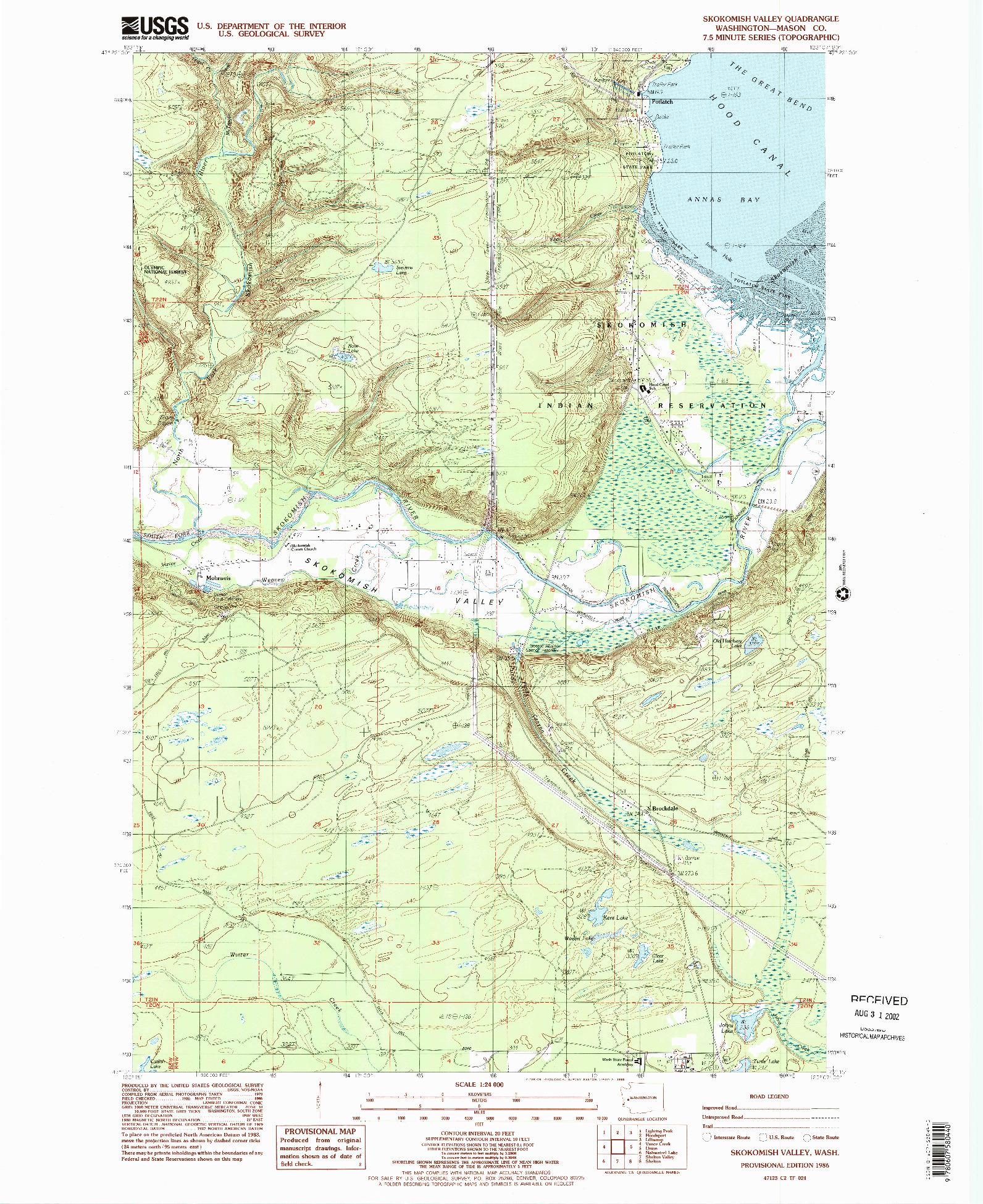 USGS 1:24000-SCALE QUADRANGLE FOR SKOKOMISH VALLEY, WA 1986