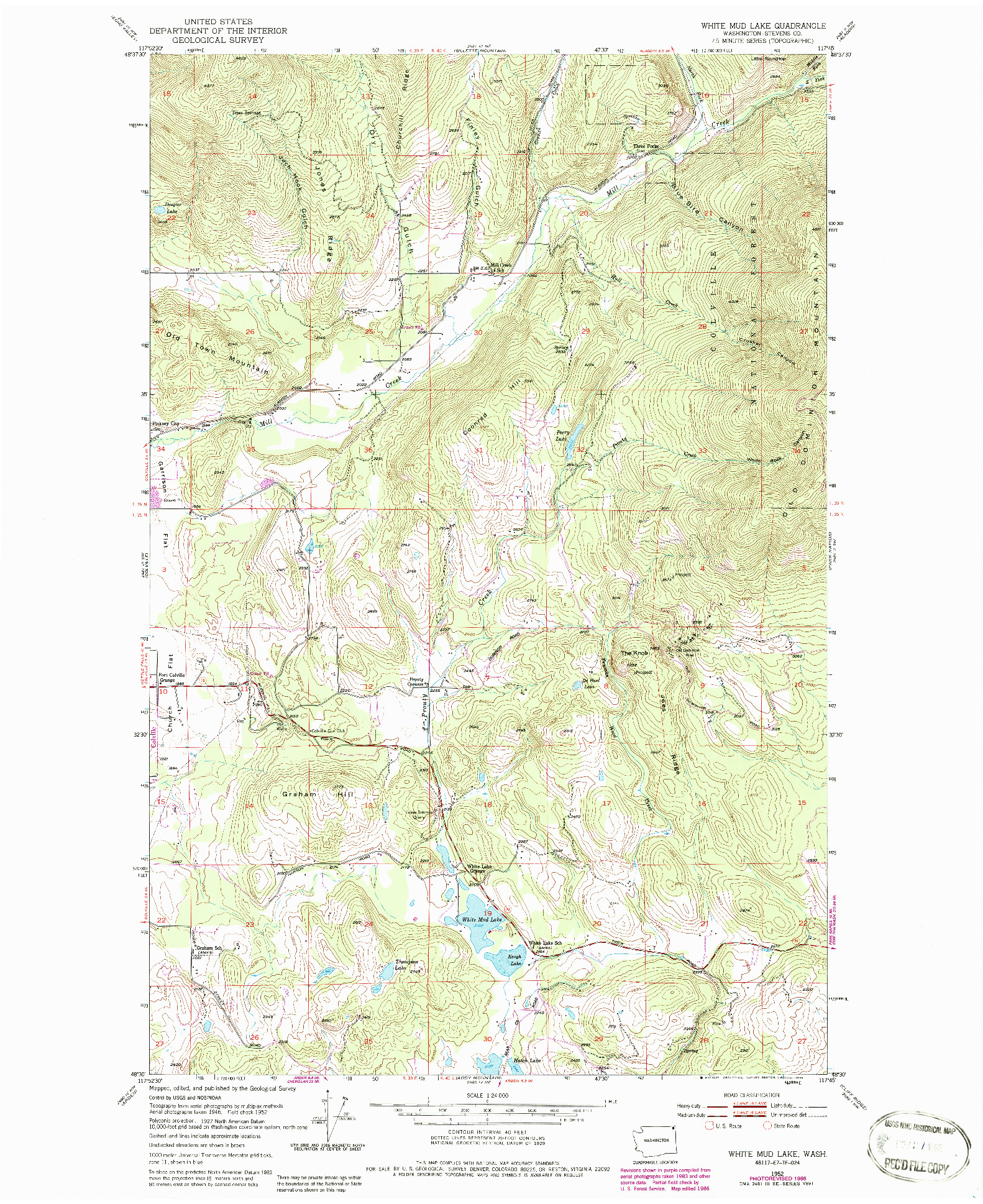 USGS 1:24000-SCALE QUADRANGLE FOR WHITE MUD LAKE, WA 1952
