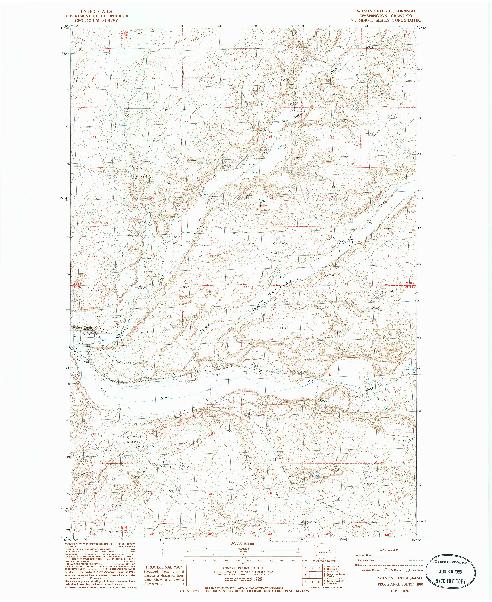 USGS 1:24000-SCALE QUADRANGLE FOR WILSON CREEK, WA 1986