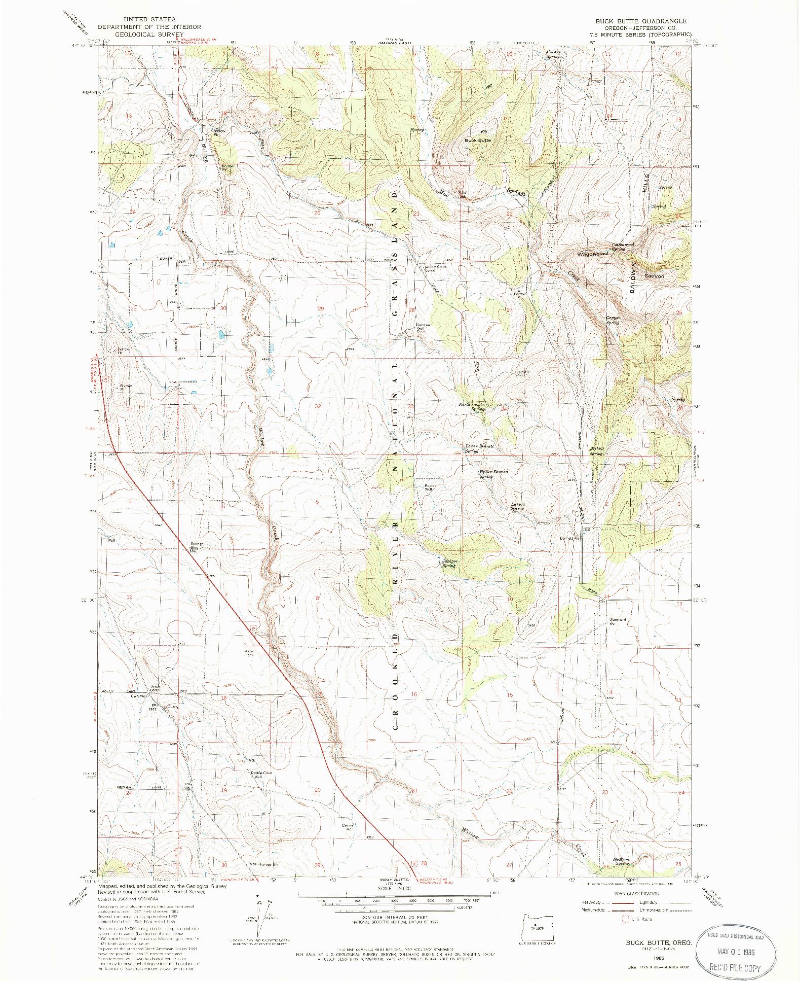 USGS 1:24000-SCALE QUADRANGLE FOR BUCK BUTTE, OR 1985