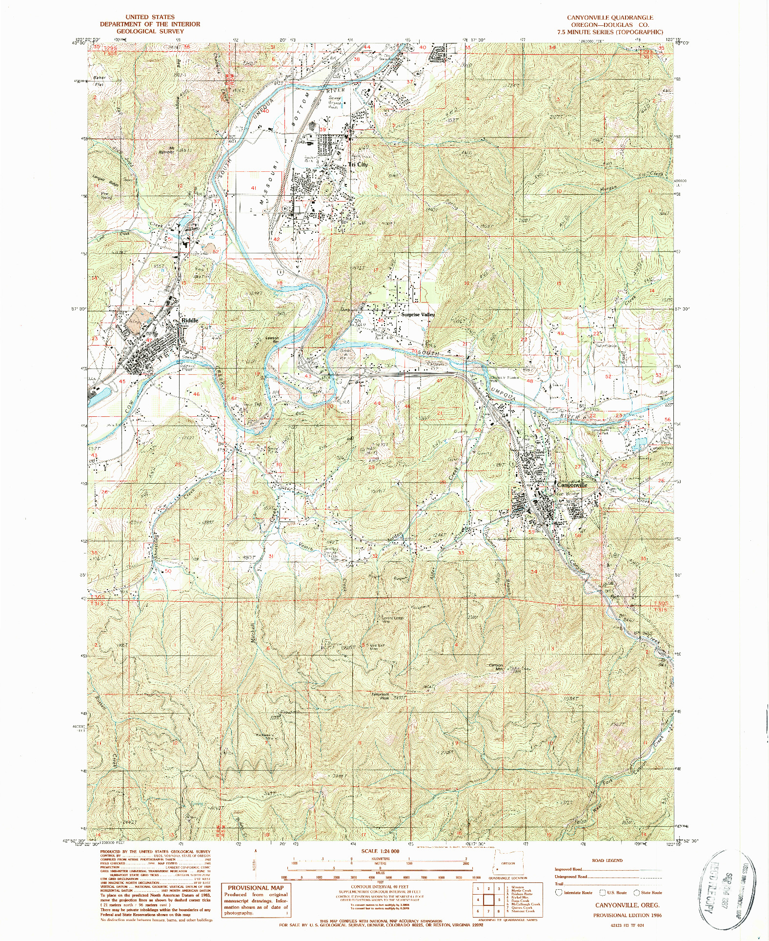 USGS 1:24000-SCALE QUADRANGLE FOR CANYONVILLE, OR 1986