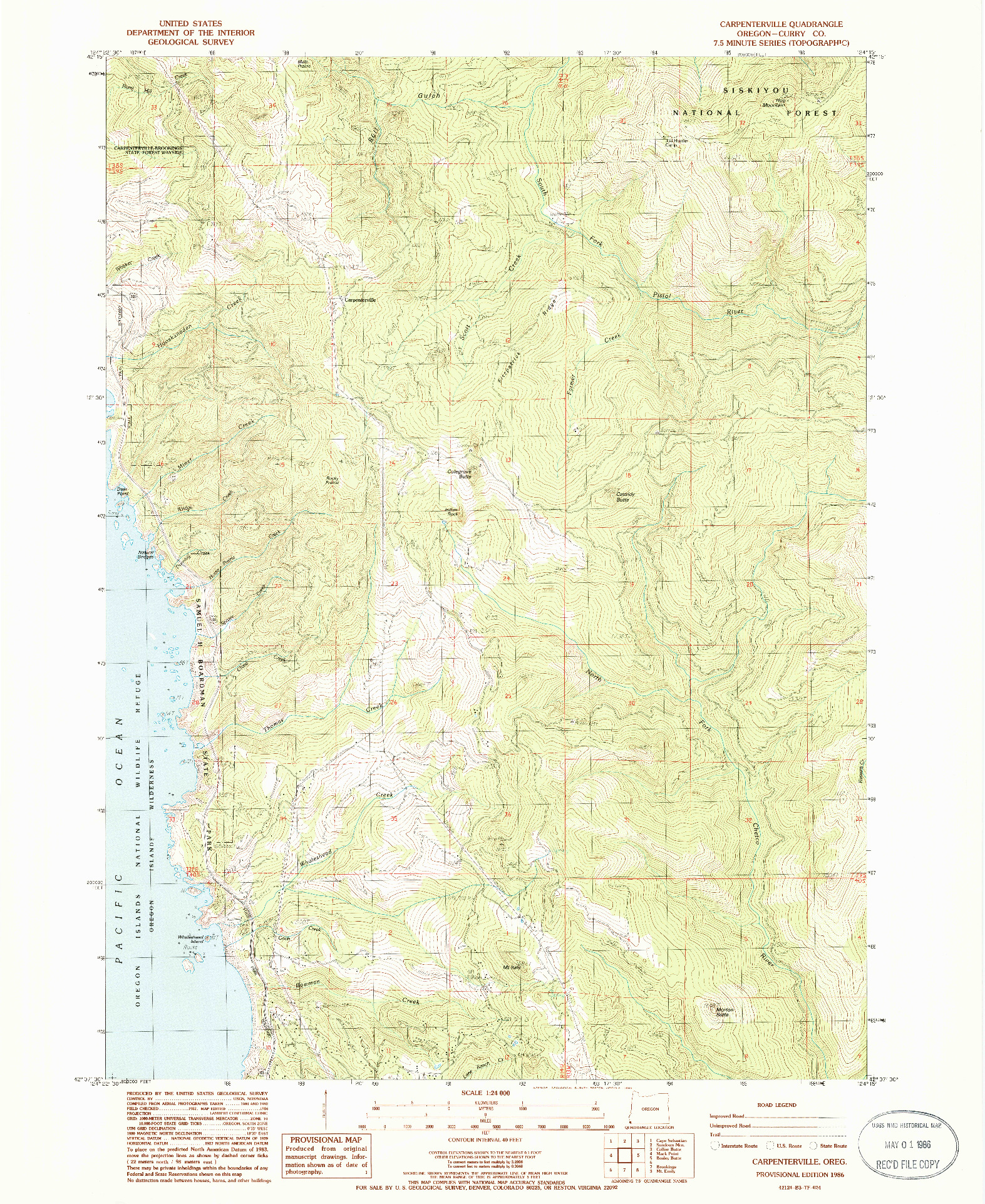 USGS 1:24000-SCALE QUADRANGLE FOR CARPENTERVILLE, OR 1986
