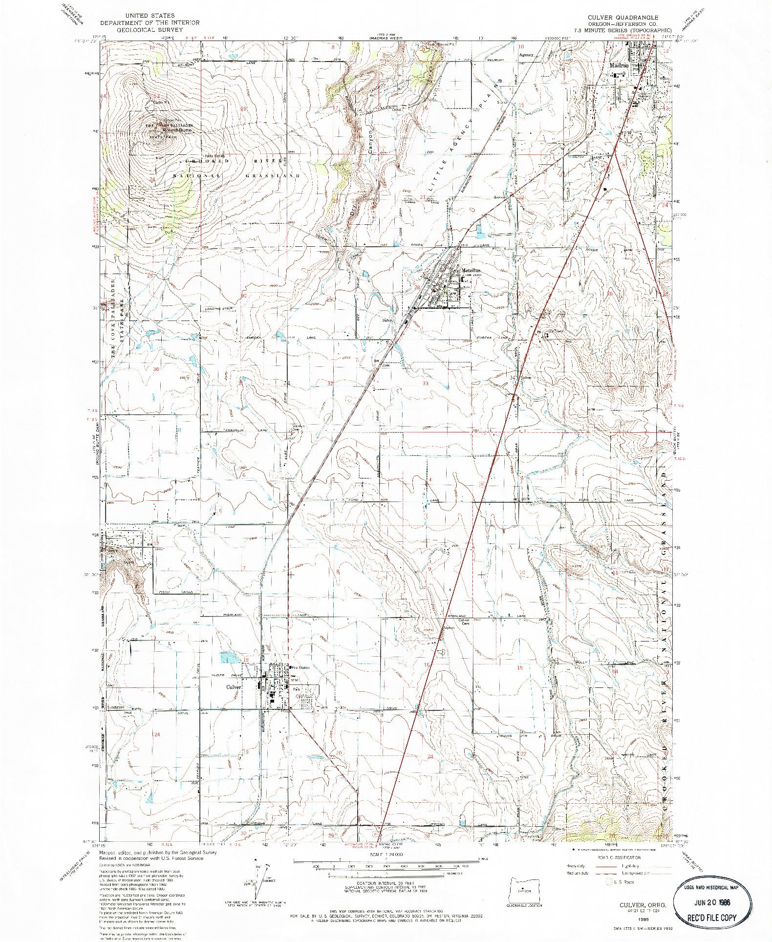 USGS 1:24000-SCALE QUADRANGLE FOR CULVER, OR 1985