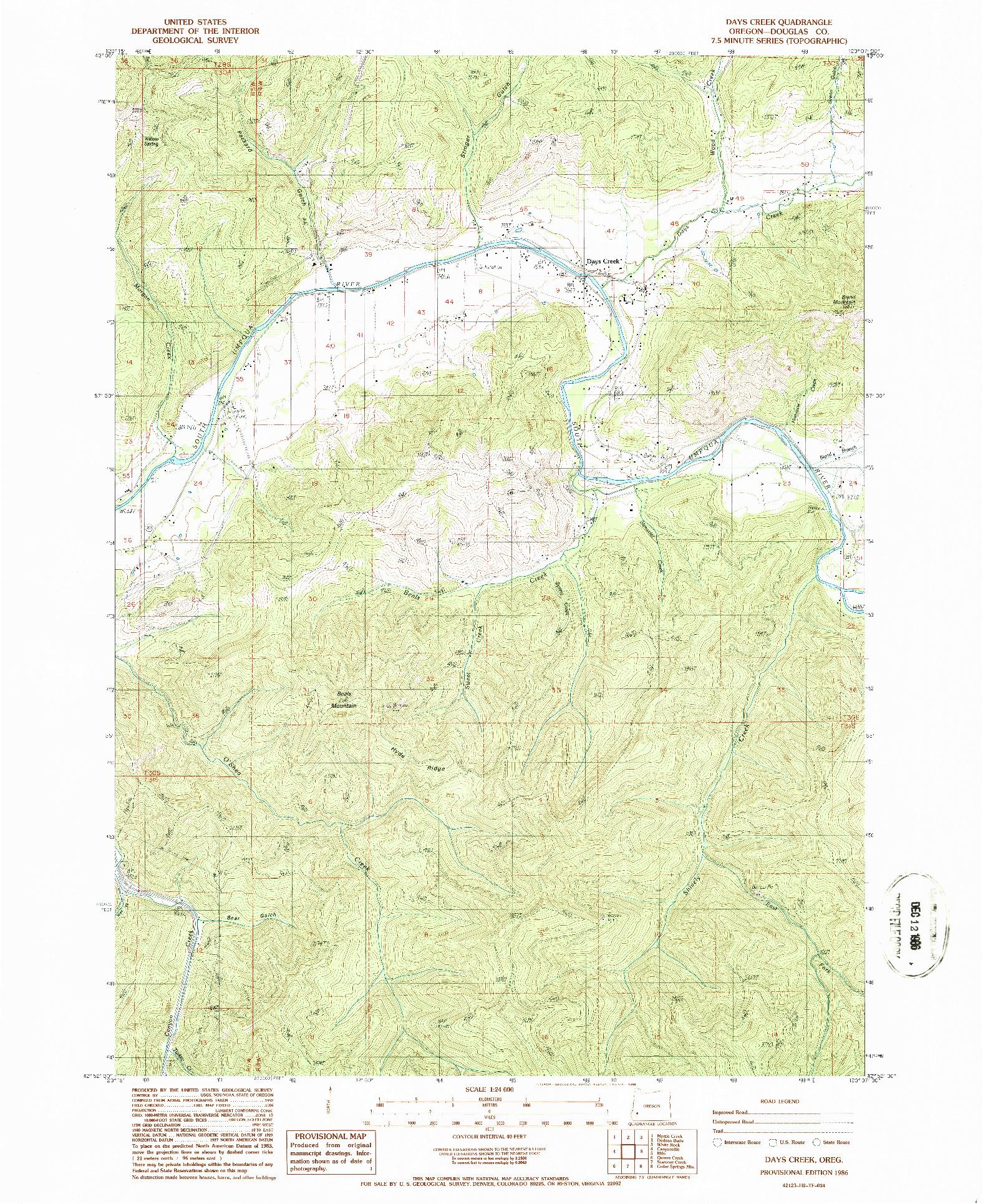 USGS 1:24000-SCALE QUADRANGLE FOR DAYS CREEK, OR 1986