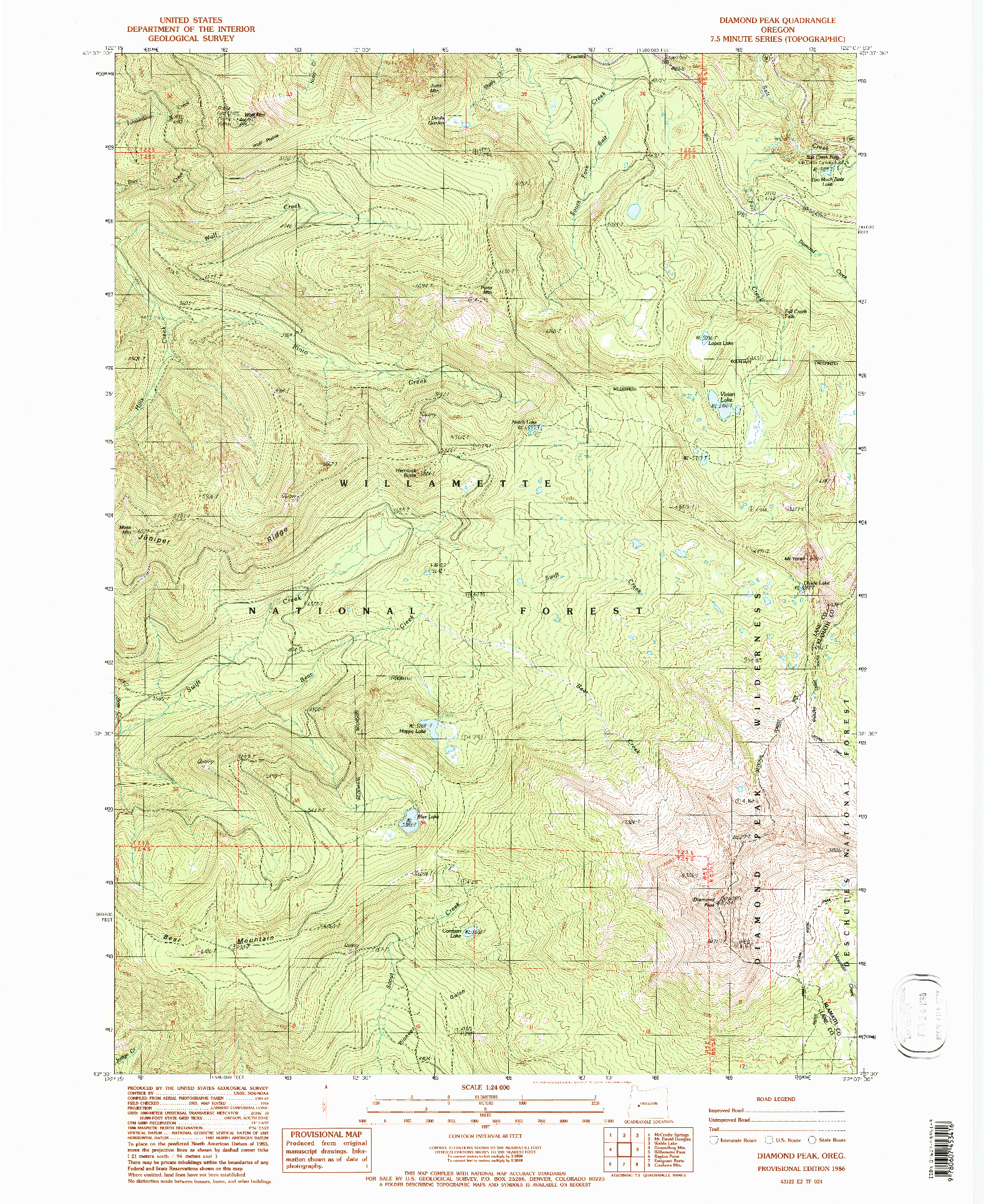 USGS 1:24000-SCALE QUADRANGLE FOR DIAMOND PEAK, OR 1986