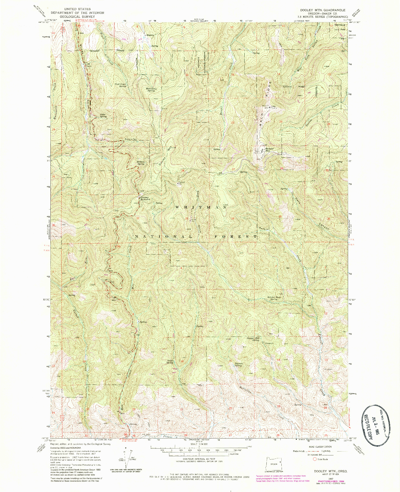 USGS 1:24000-SCALE QUADRANGLE FOR DOOLEY MTN, OR 1967