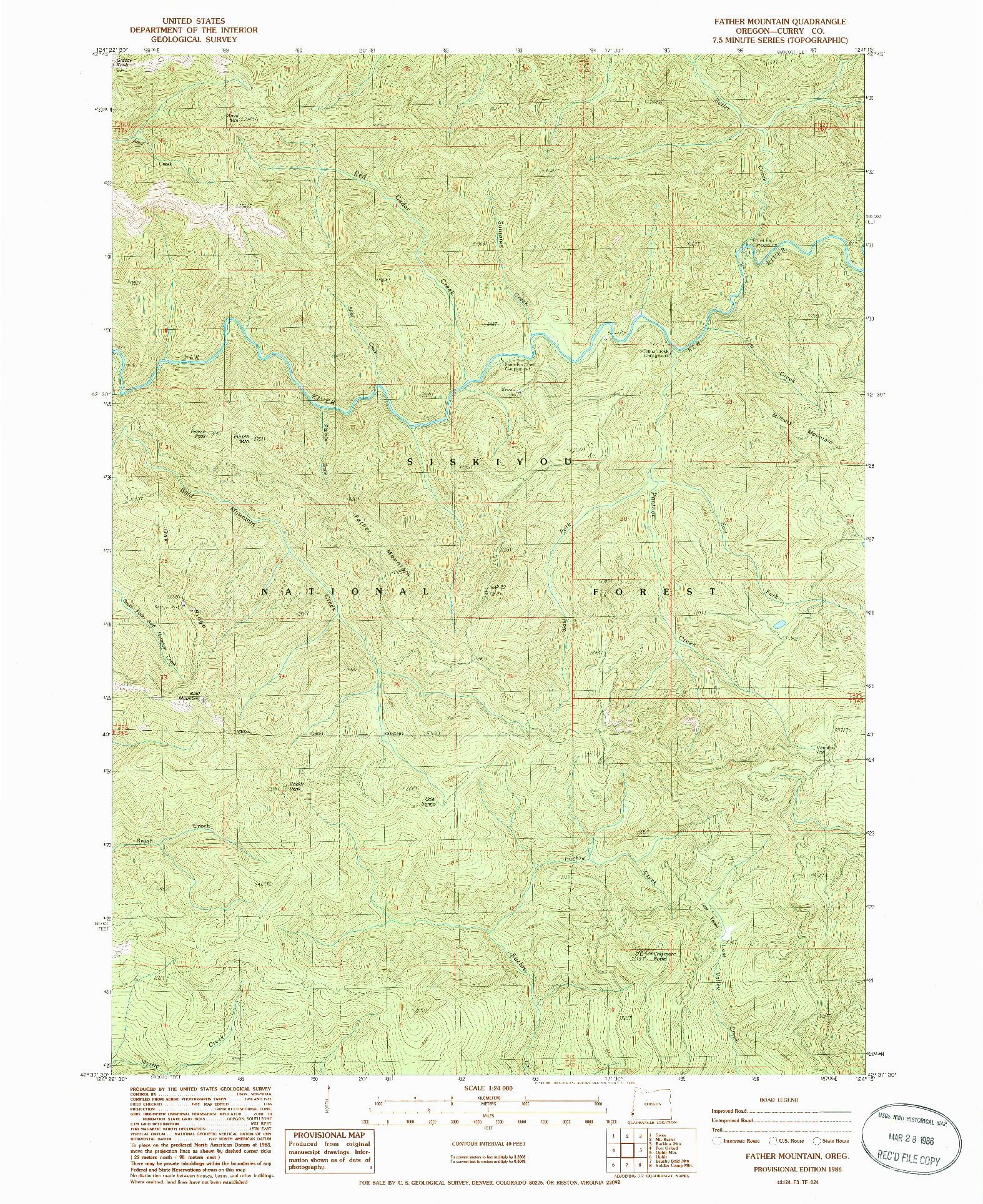 USGS 1:24000-SCALE QUADRANGLE FOR FATHER MOUNTAIN, OR 1986