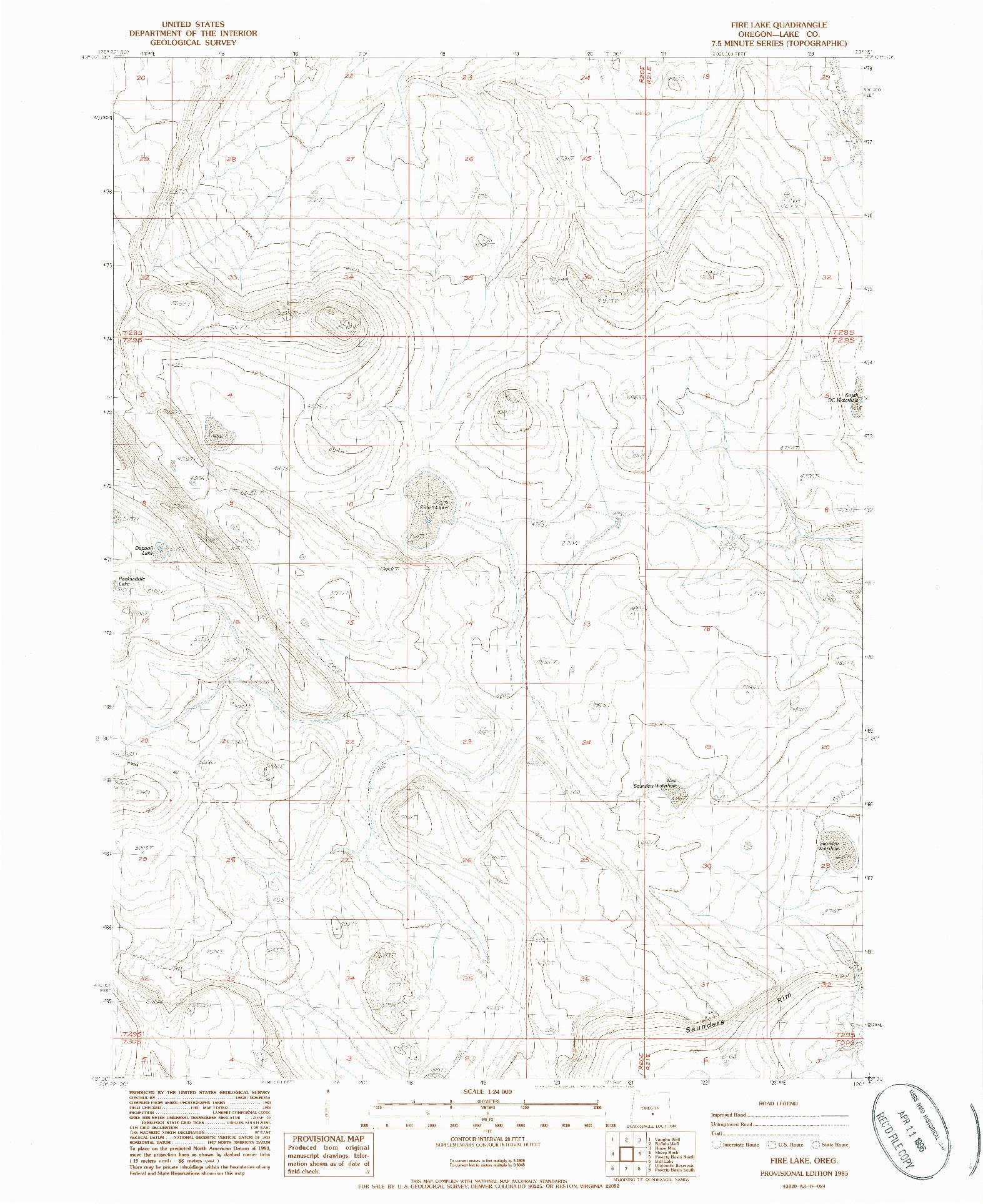 USGS 1:24000-SCALE QUADRANGLE FOR FIRE LAKE, OR 1985