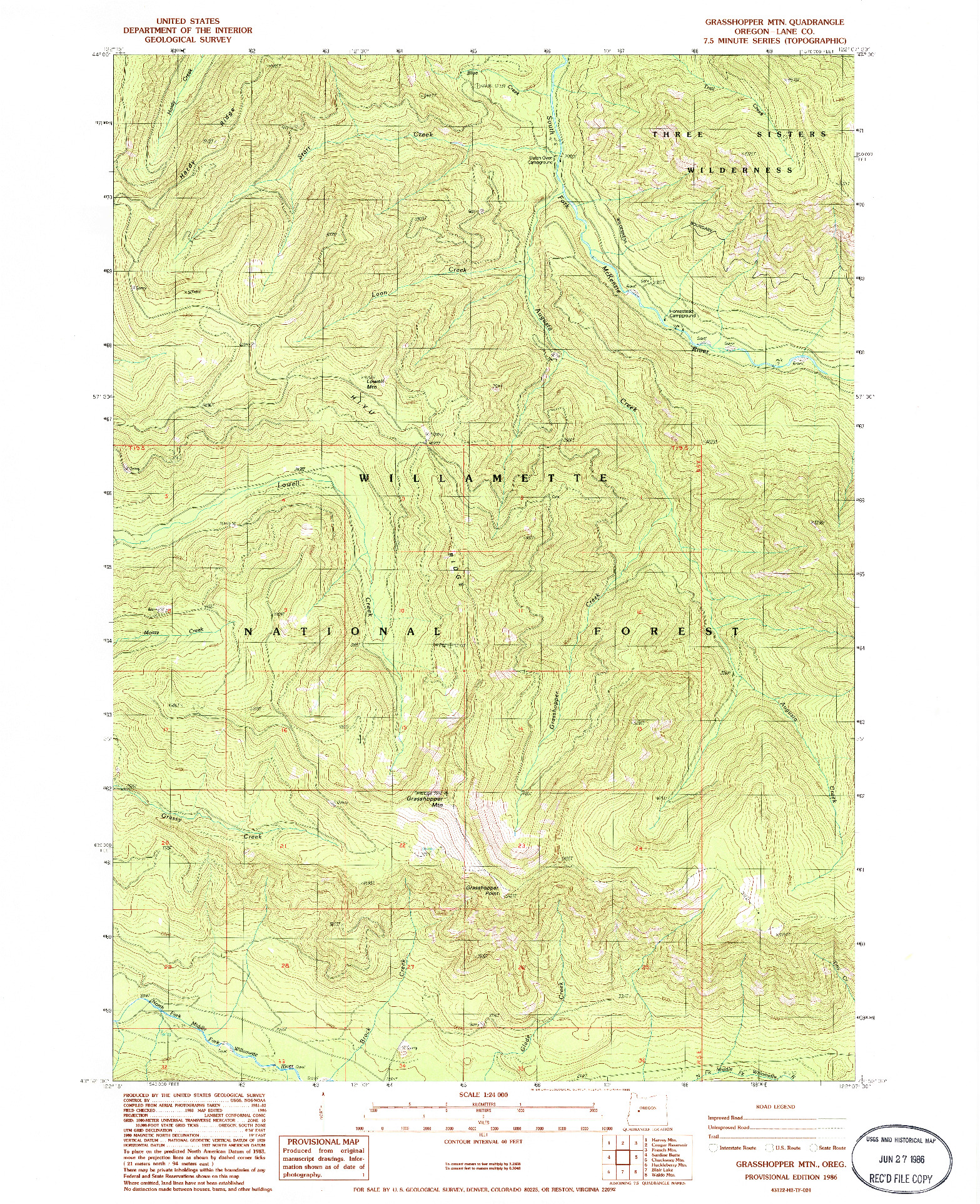 USGS 1:24000-SCALE QUADRANGLE FOR GRASSHOPPER MOUNTAIN, OR 1986