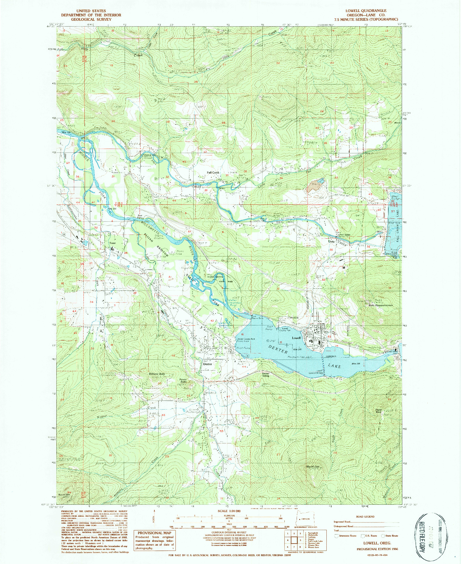 USGS 1:24000-SCALE QUADRANGLE FOR LOWELL, OR 1986
