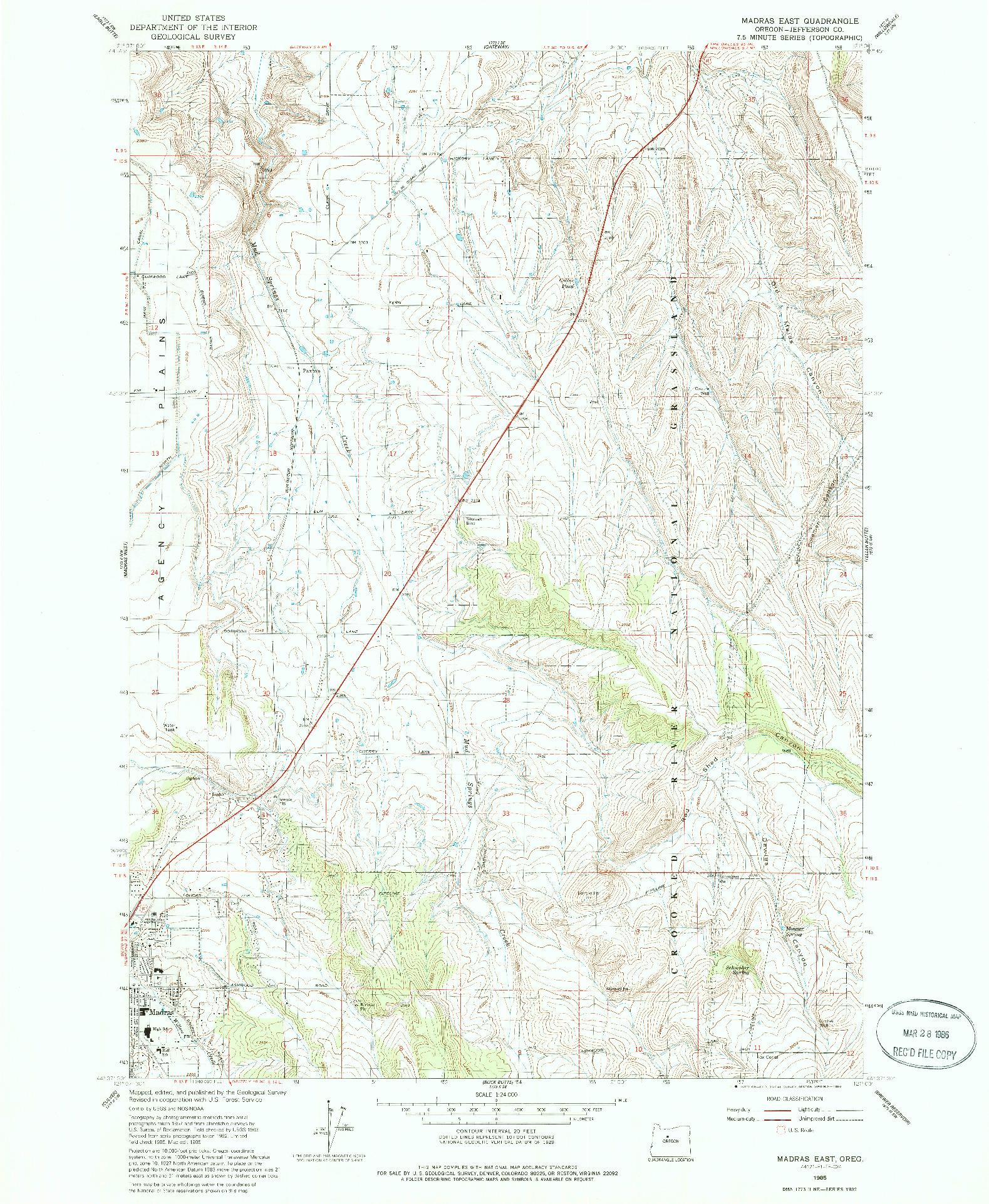 USGS 1:24000-SCALE QUADRANGLE FOR MADRAS EAST, OR 1985