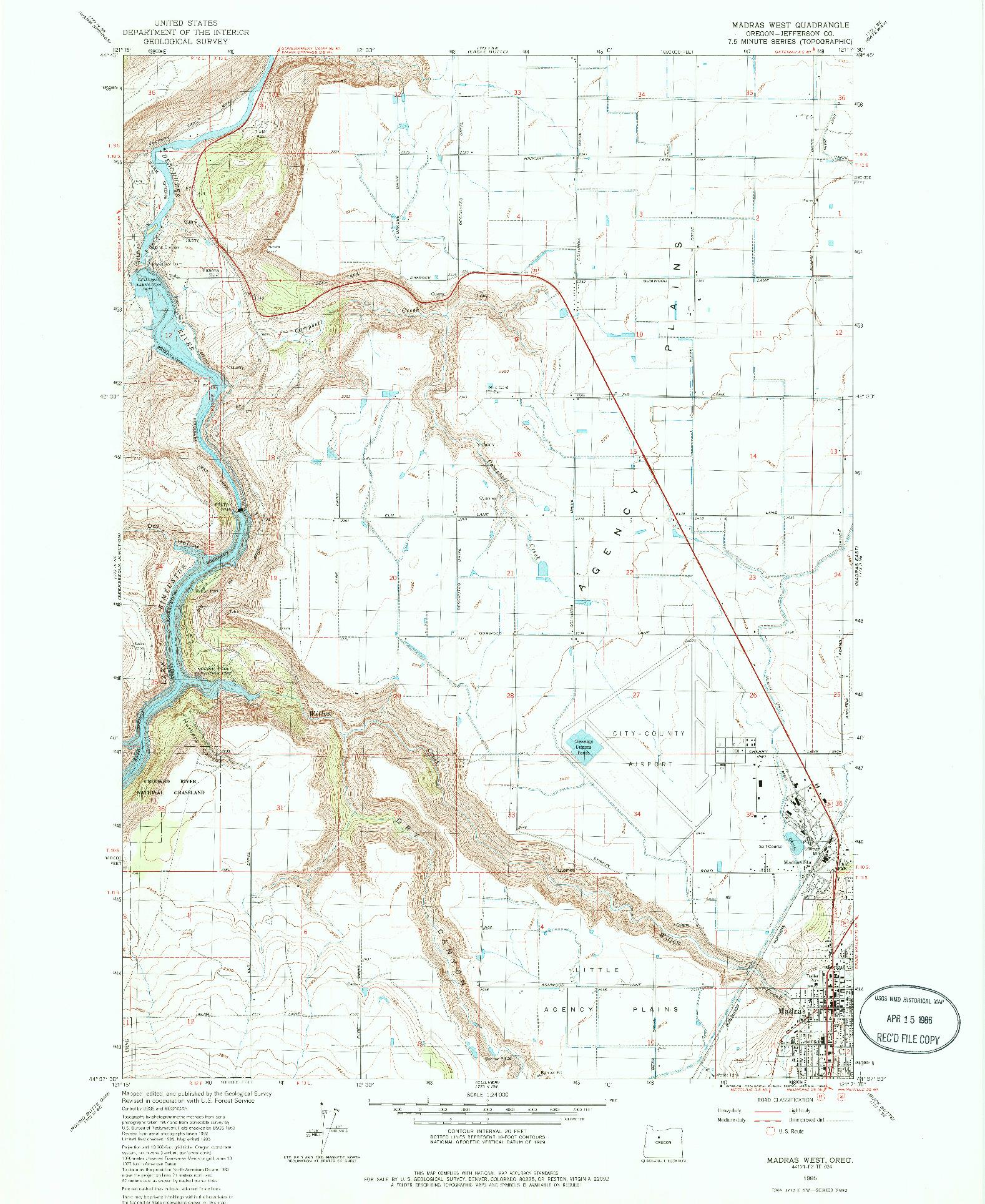 USGS 1:24000-SCALE QUADRANGLE FOR MADRAS WEST, OR 1985