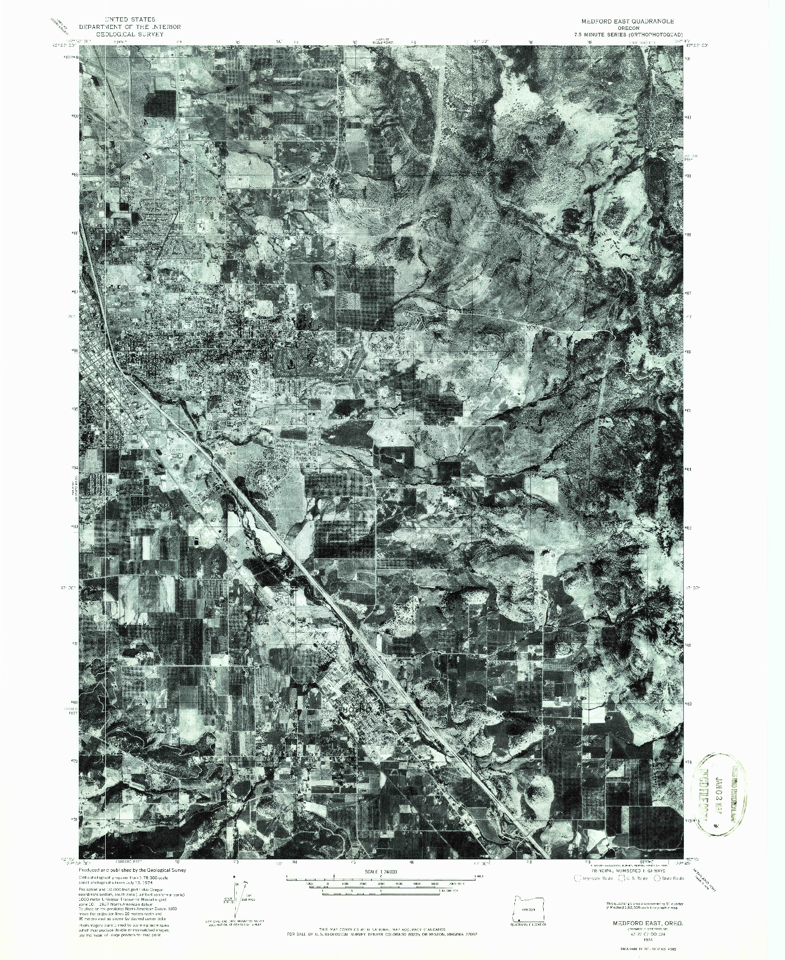 USGS 1:24000-SCALE QUADRANGLE FOR MEDFORD EAST, OR 1974