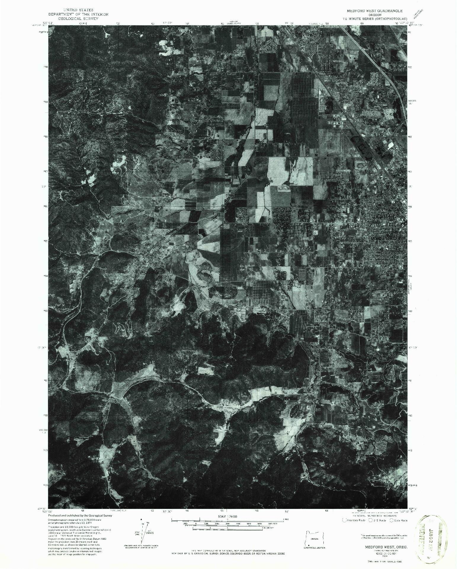USGS 1:24000-SCALE QUADRANGLE FOR MEDFORD WEST, OR 1974