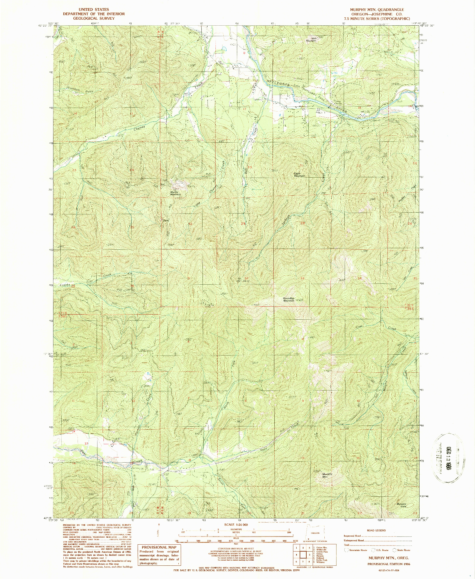 USGS 1:24000-SCALE QUADRANGLE FOR MURPHY MTN, OR 1986