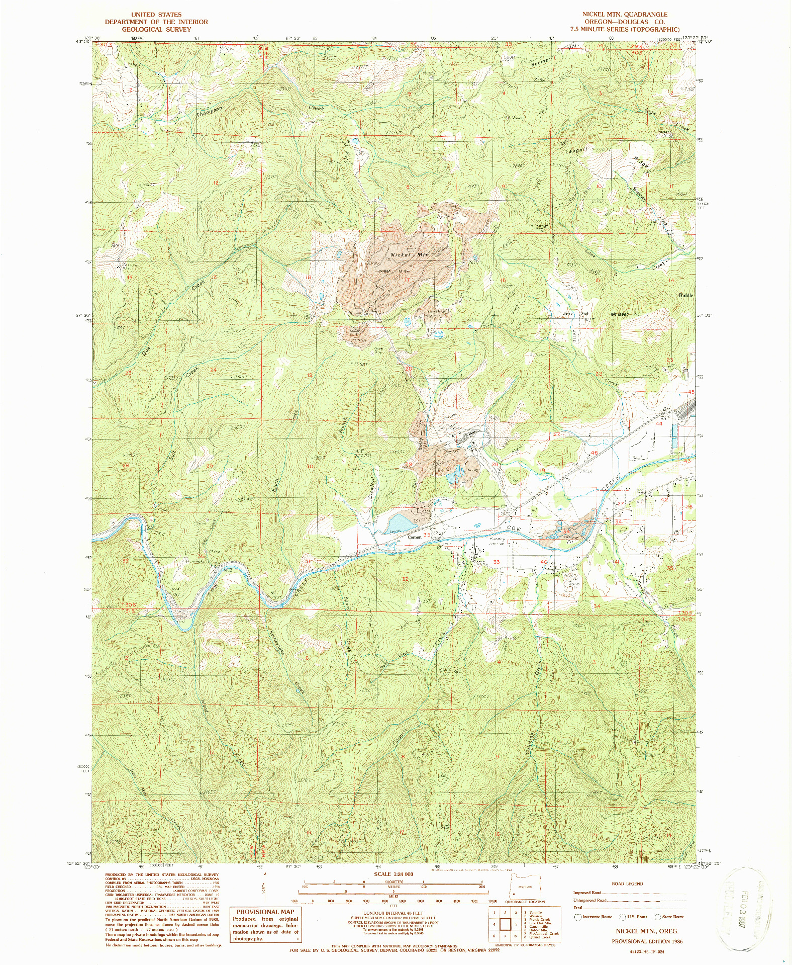 USGS 1:24000-SCALE QUADRANGLE FOR NICKEL MTN, OR 1986