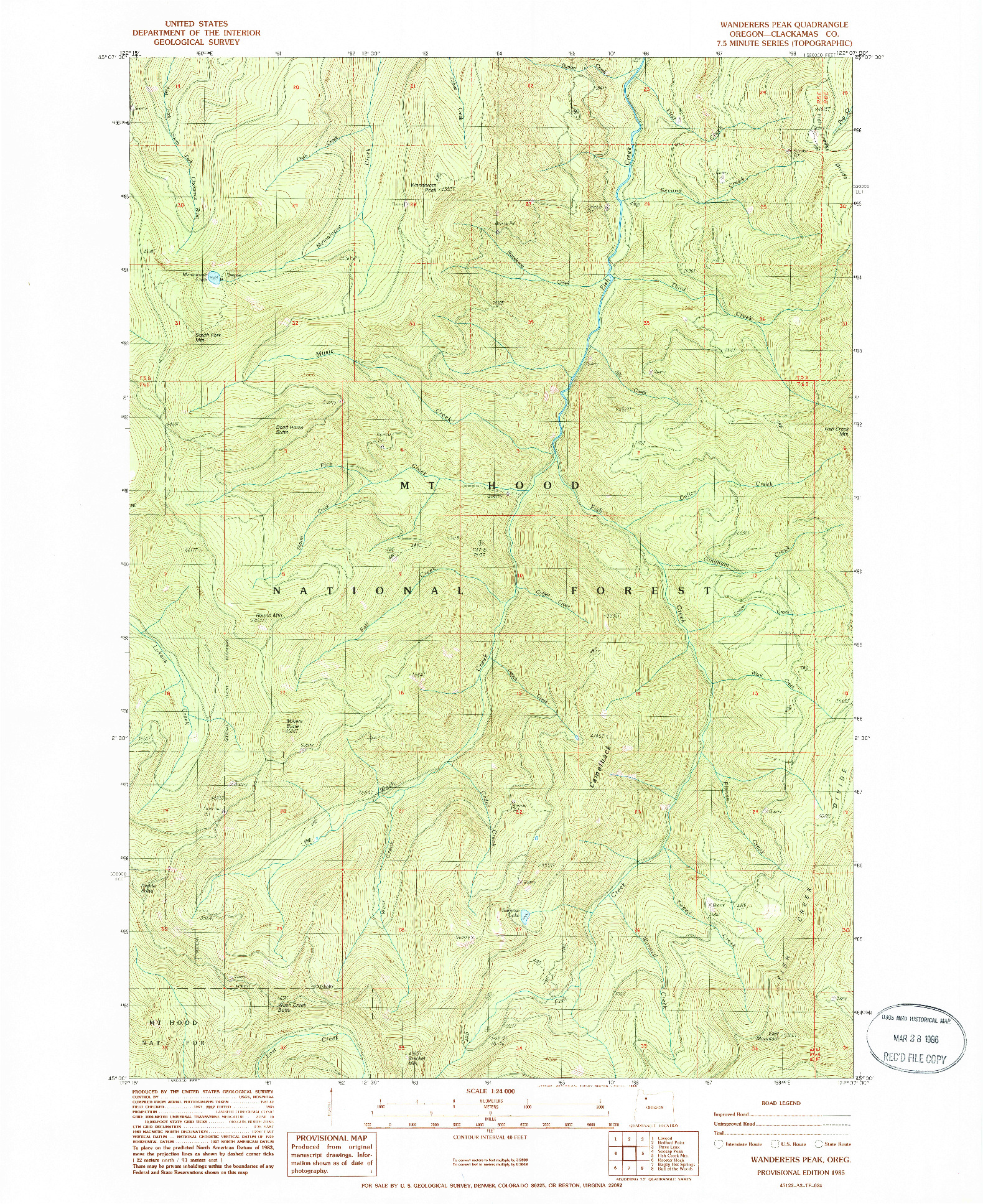 USGS 1:24000-SCALE QUADRANGLE FOR WANDERERS PEAK, OR 1985