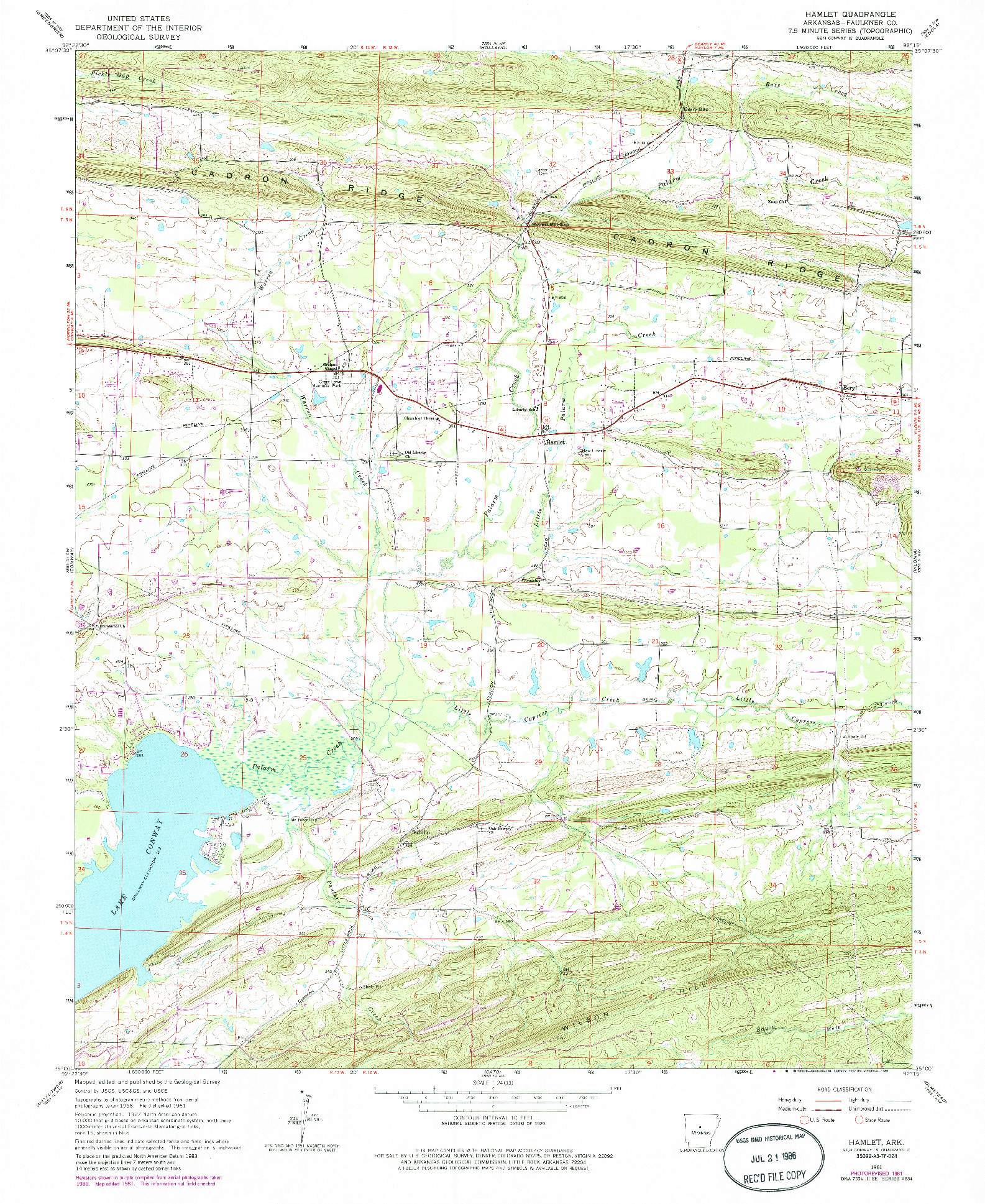 USGS 1:24000-SCALE QUADRANGLE FOR HAMLET, AR 1961