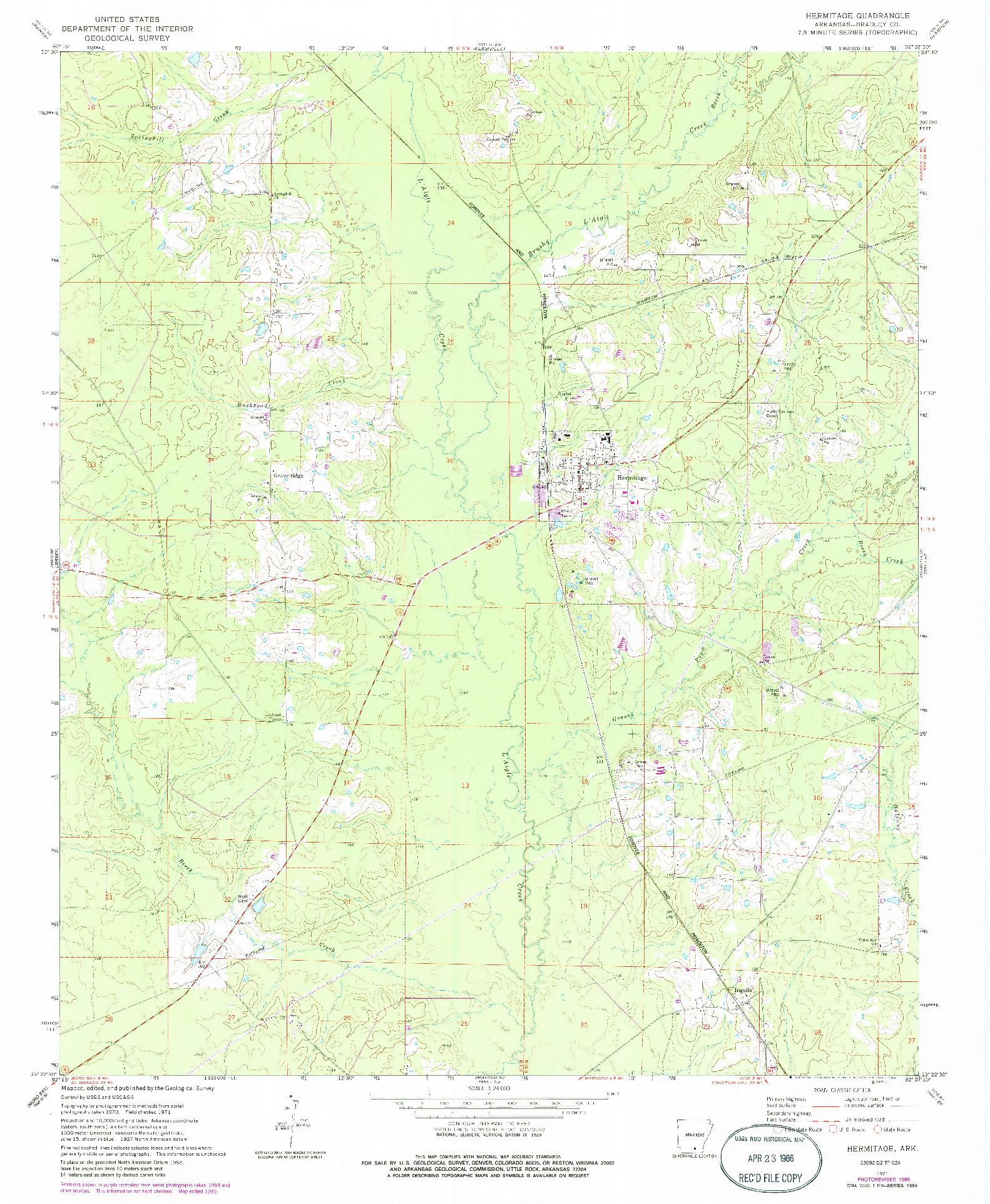 USGS 1:24000-SCALE QUADRANGLE FOR HERMITAGE, AR 1971