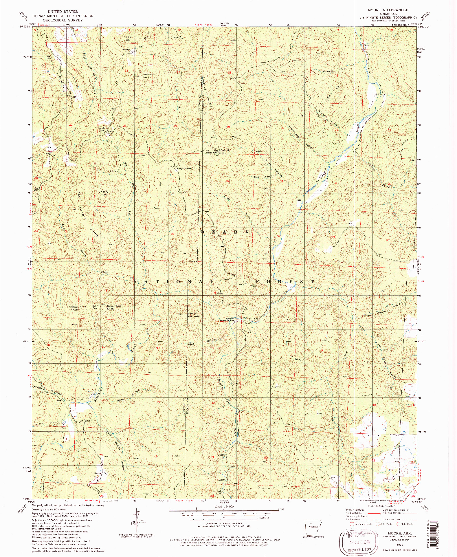 USGS 1:24000-SCALE QUADRANGLE FOR MOORE, AR 1980