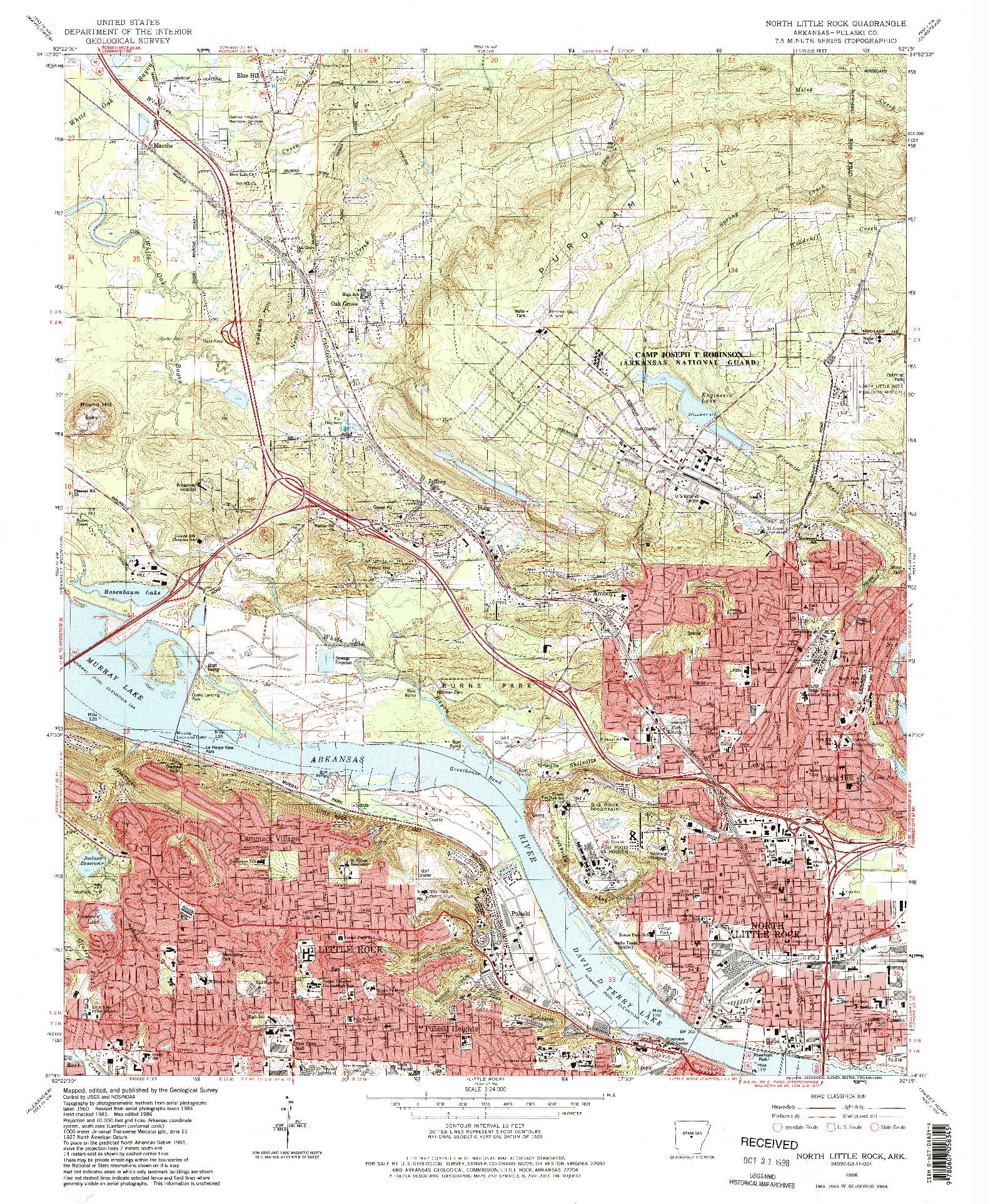 USGS 1:24000-SCALE QUADRANGLE FOR NORTH LITTLE ROCK, AR 1986