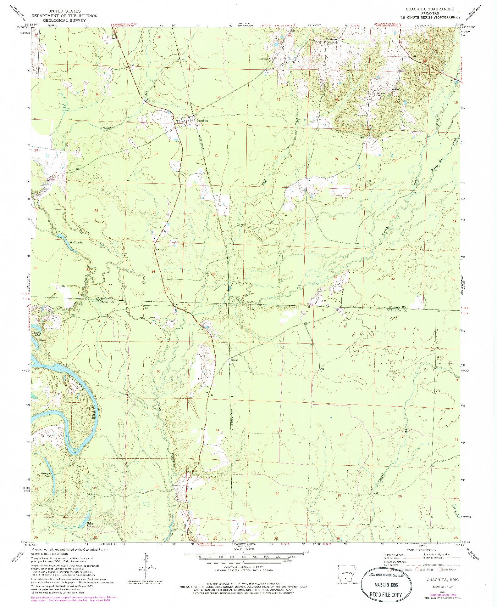 USGS 1:24000-SCALE QUADRANGLE FOR OUACHITA, AR 1971