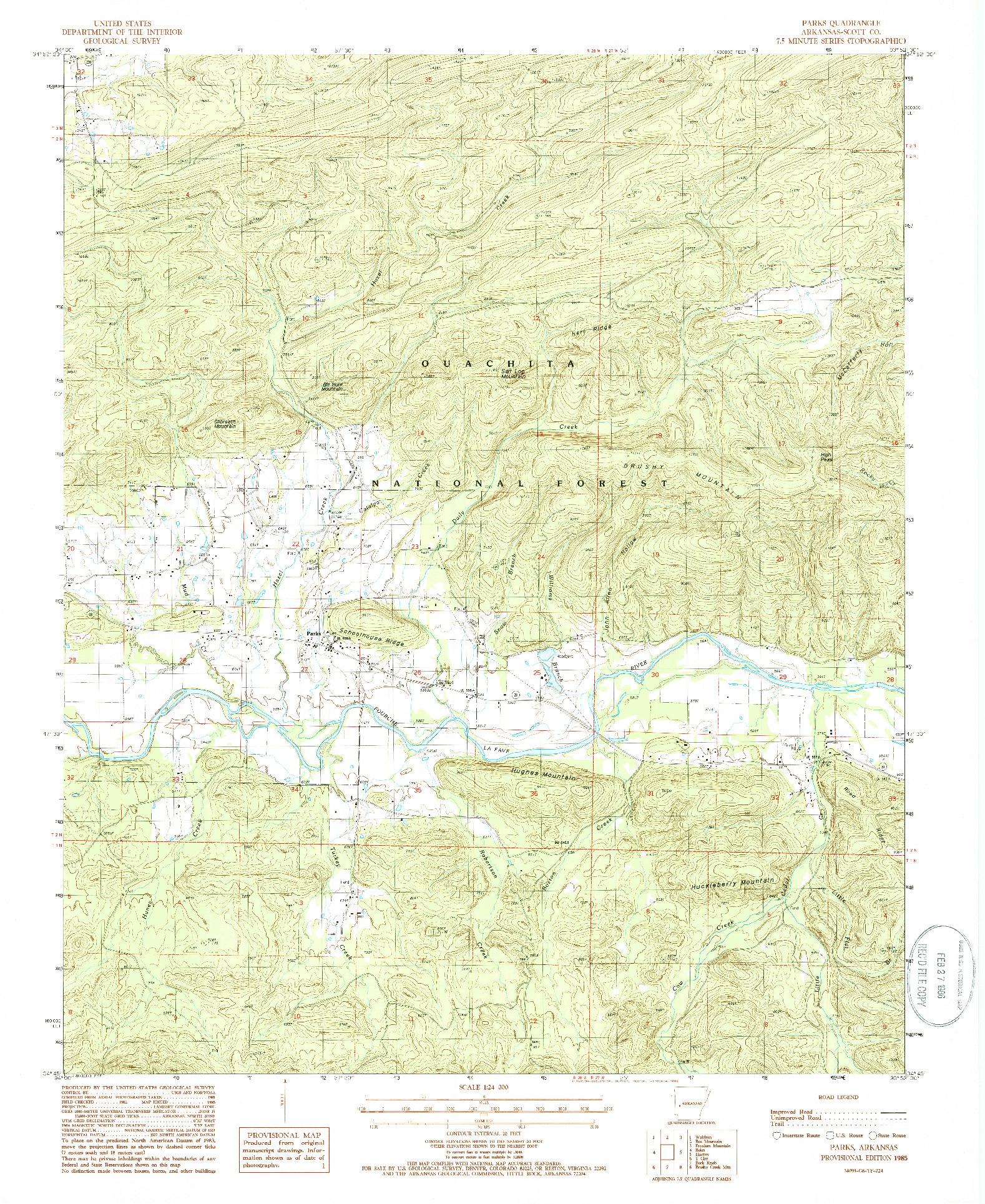 USGS 1:24000-SCALE QUADRANGLE FOR PARKS, AR 1985