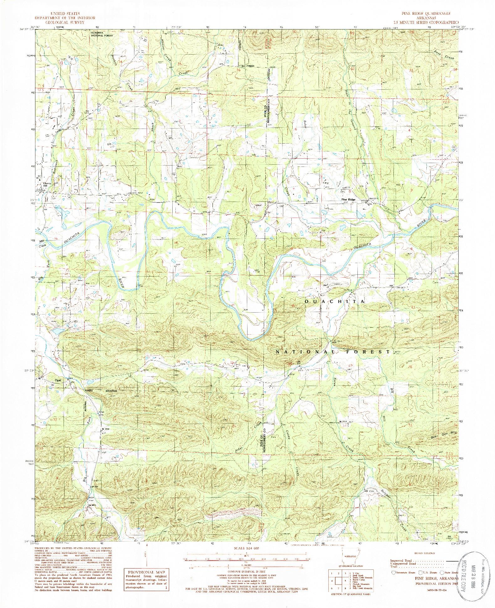 USGS 1:24000-SCALE QUADRANGLE FOR PINE RIDGE, AR 1985