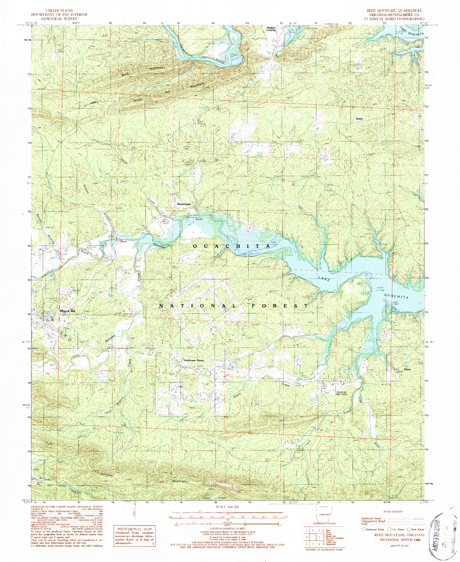 USGS 1:24000-SCALE QUADRANGLE FOR REED MOUNTAIN, AR 1986