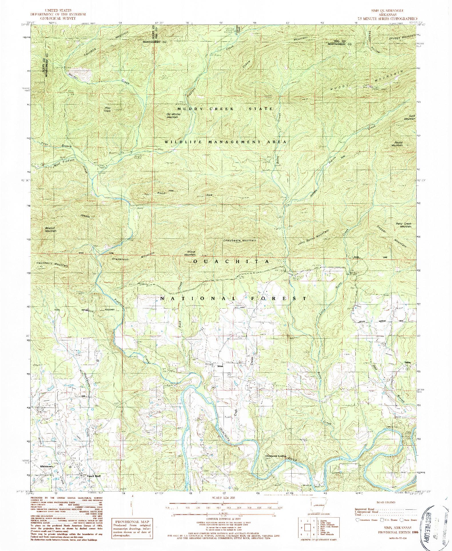 USGS 1:24000-SCALE QUADRANGLE FOR SIMS, AR 1986