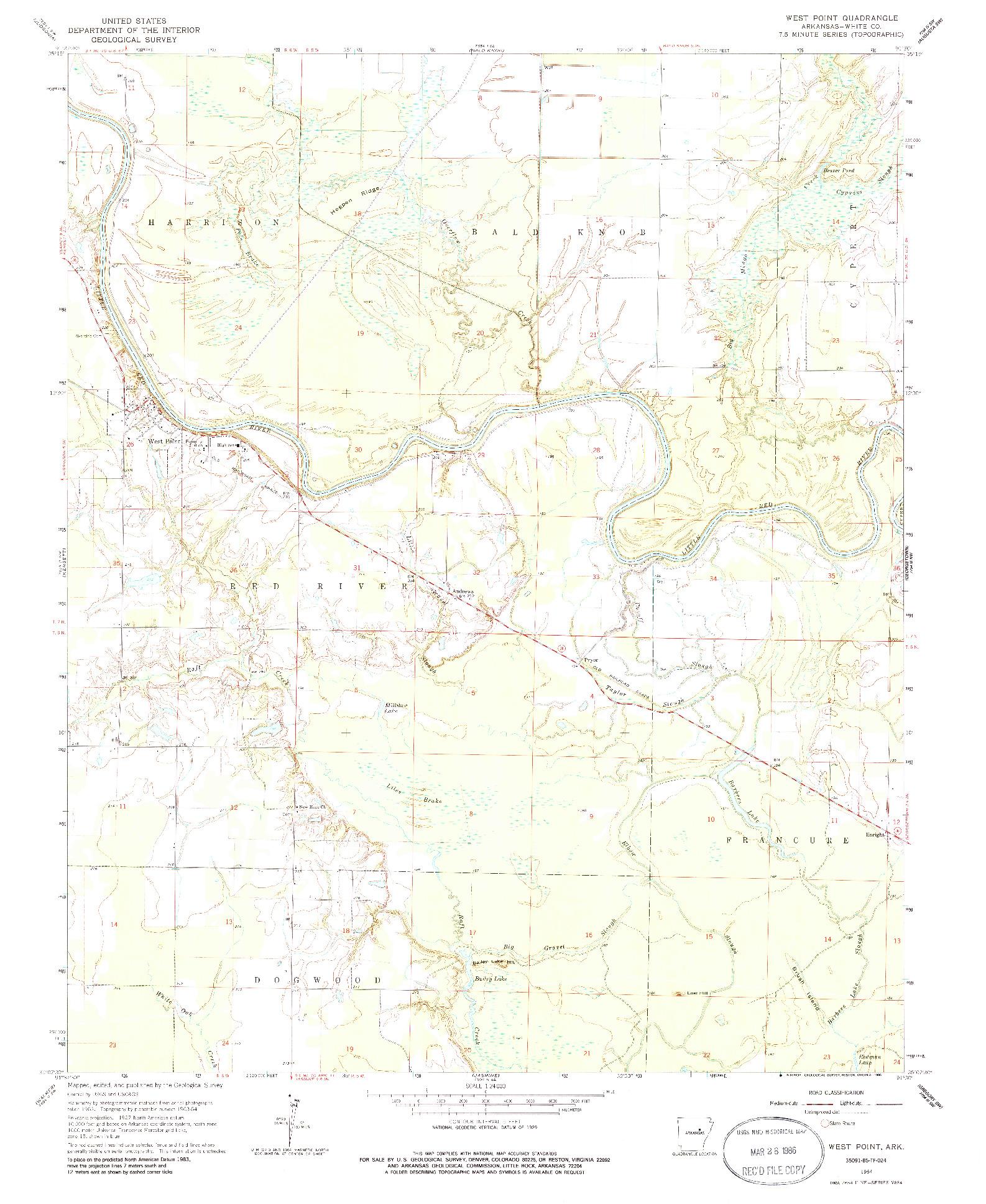 USGS 1:24000-SCALE QUADRANGLE FOR WEST POINT, AR 1964