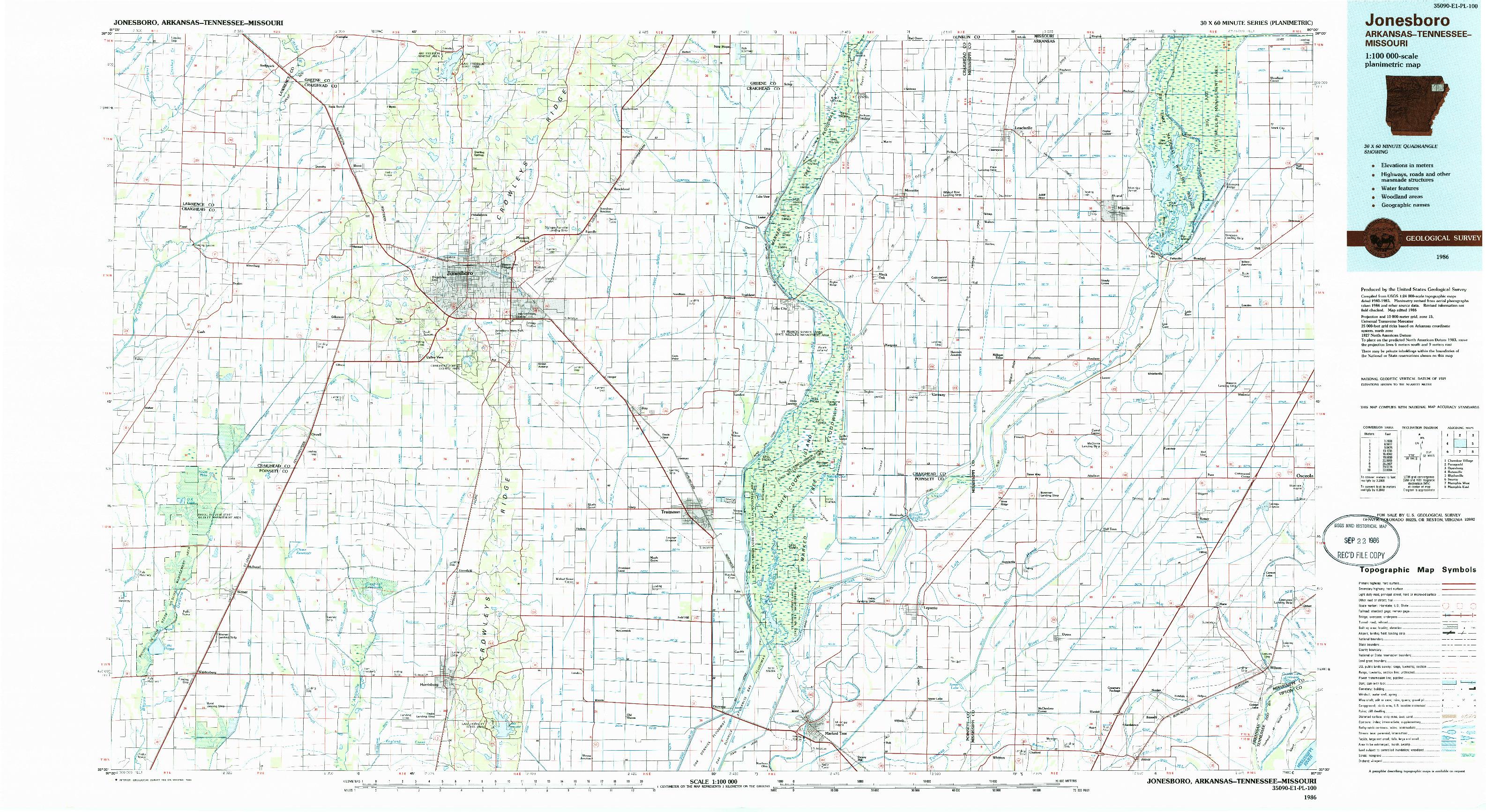 USGS 1:100000-SCALE QUADRANGLE FOR JONESBORO, AR 1986