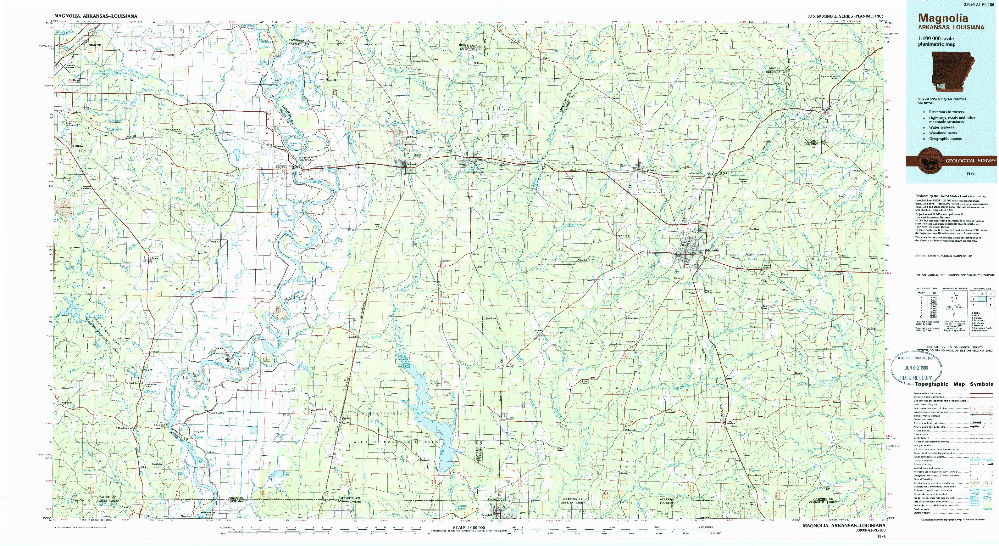 USGS 1:100000-SCALE QUADRANGLE FOR MAGNOLIA, AR 1986