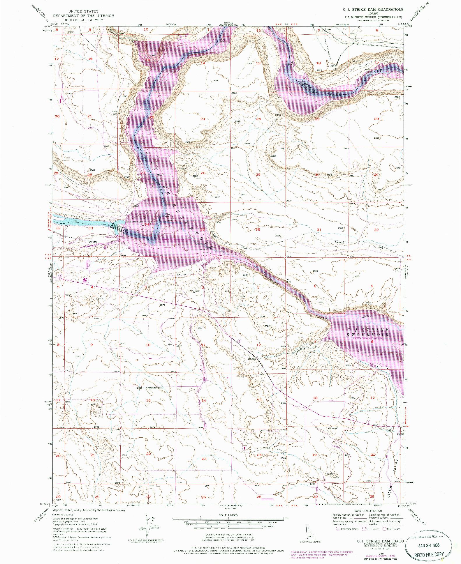 USGS 1:24000-SCALE QUADRANGLE FOR C.J. STRIKE DAM, ID 1946