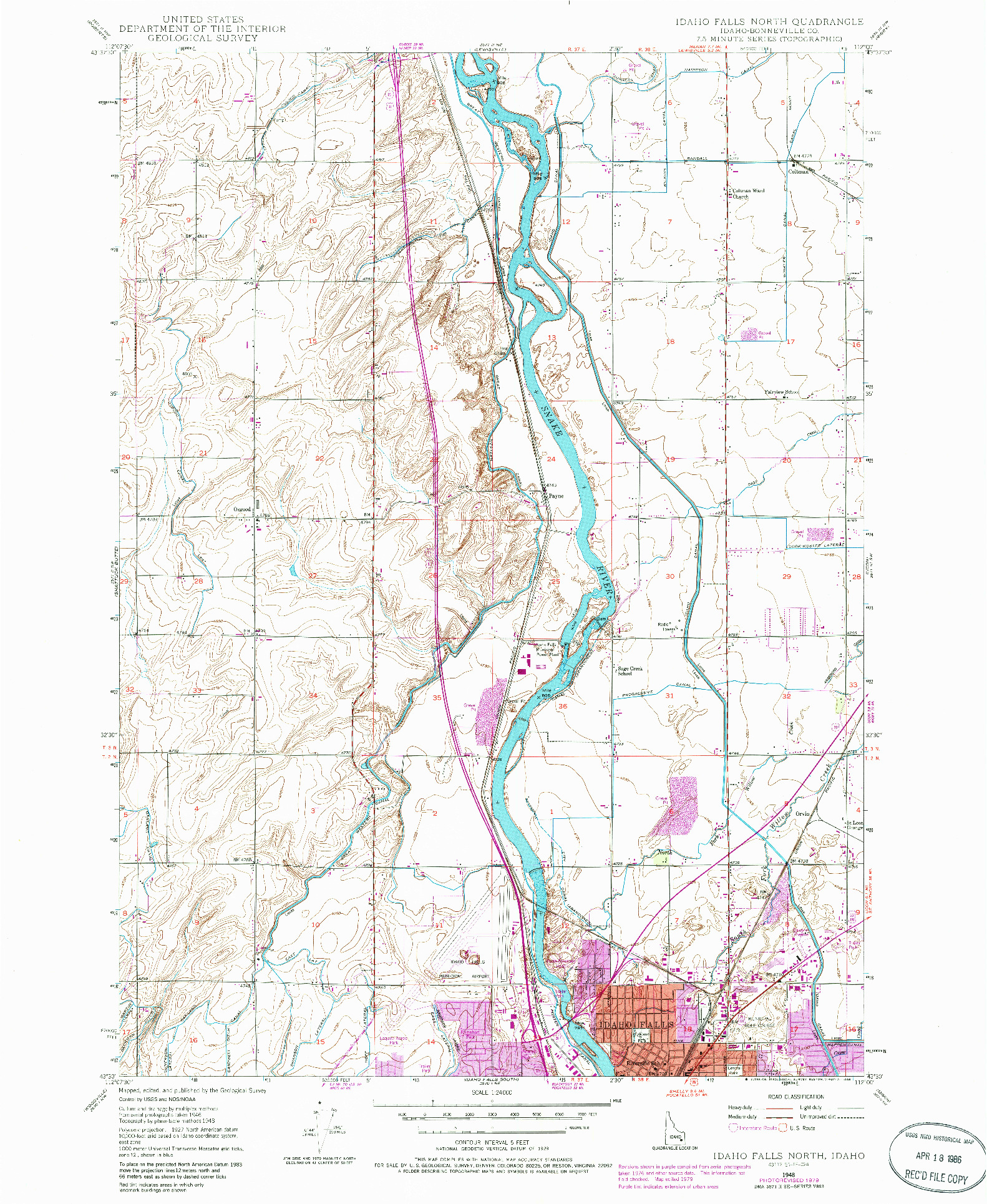 USGS 1:24000-SCALE QUADRANGLE FOR IDAHO FALLS NORTH, ID 1948