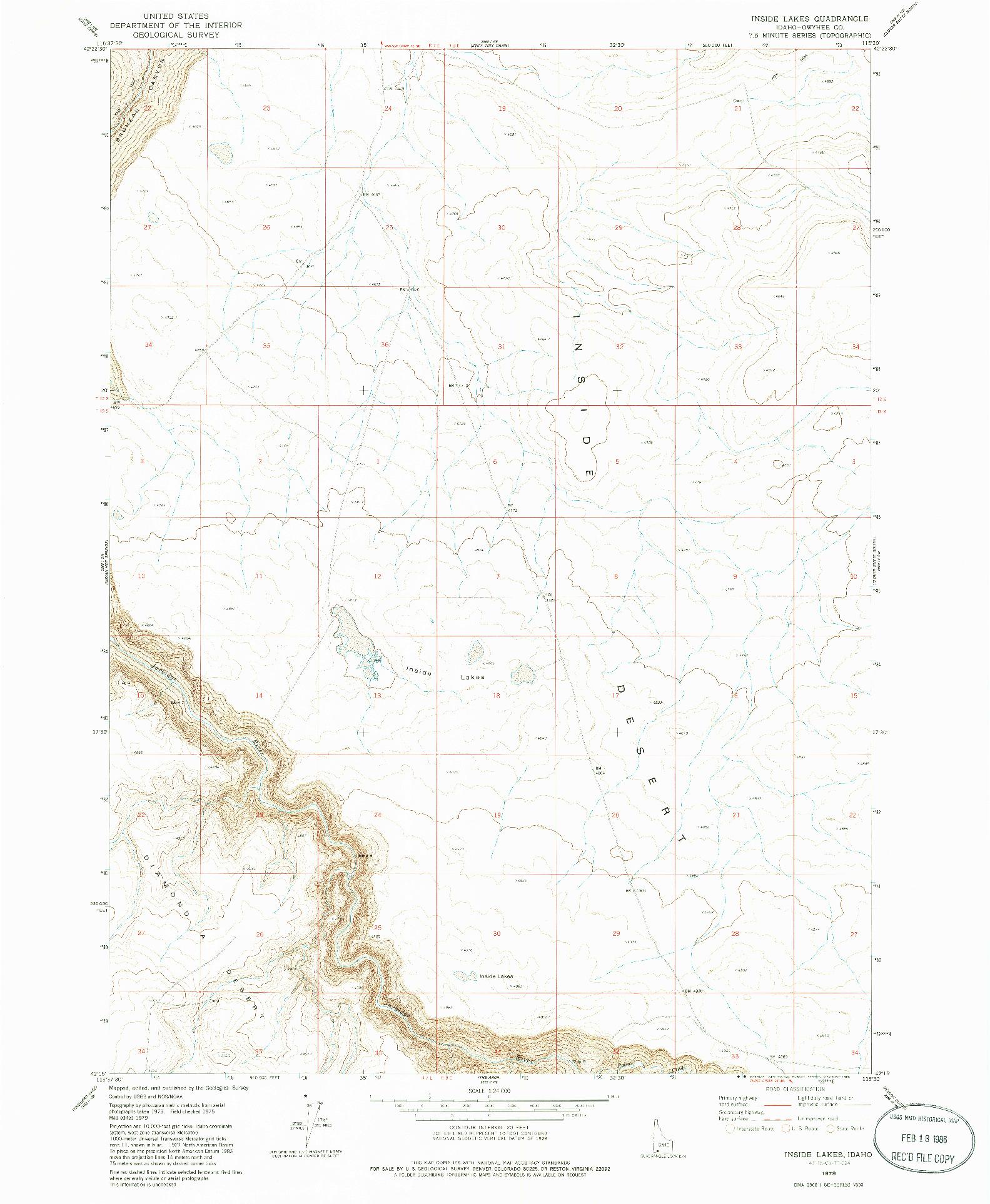 USGS 1:24000-SCALE QUADRANGLE FOR INSIDE LAKES, ID 1979