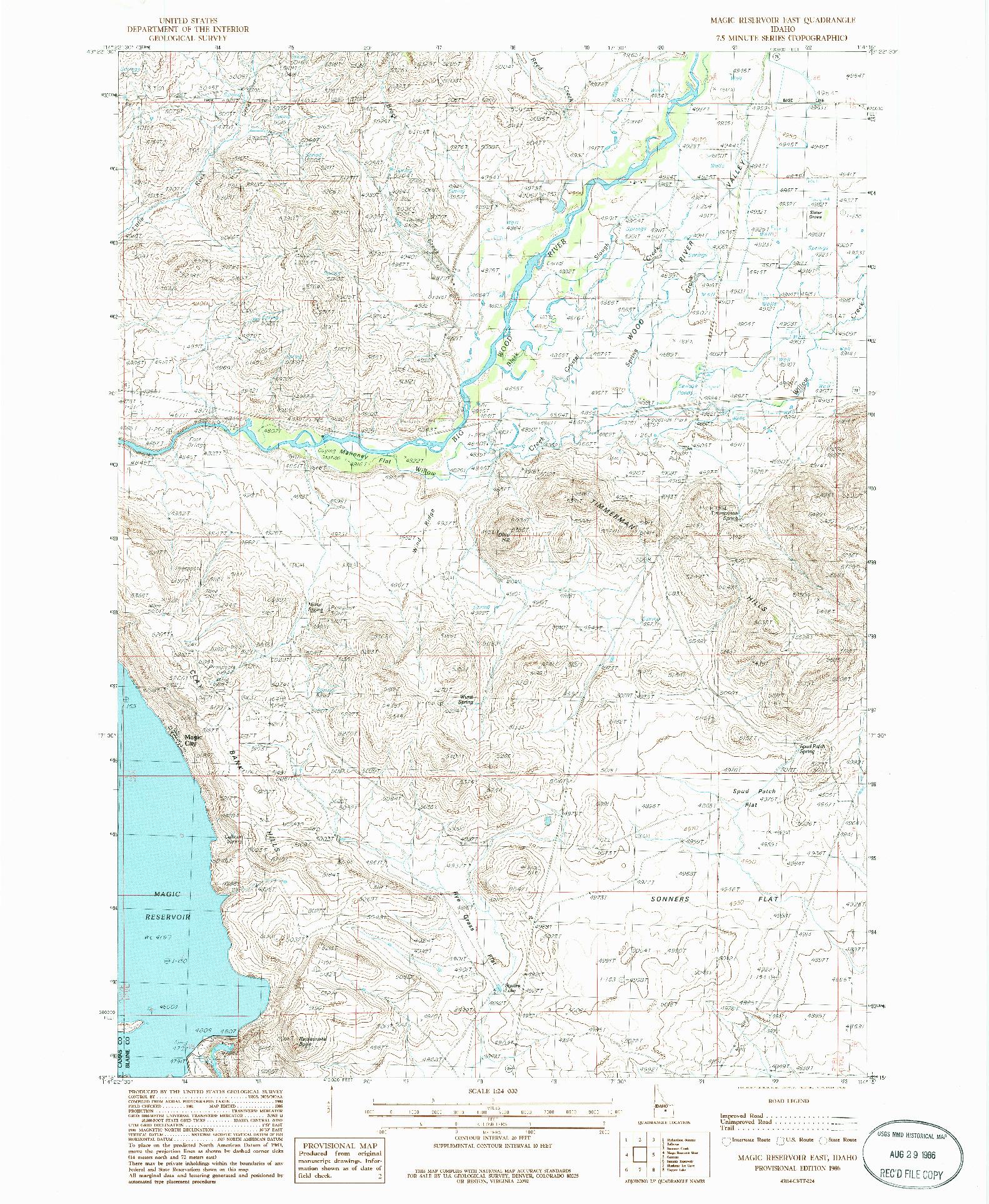USGS 1:24000-SCALE QUADRANGLE FOR MAGIC RESERVOIR EAST, ID 1986