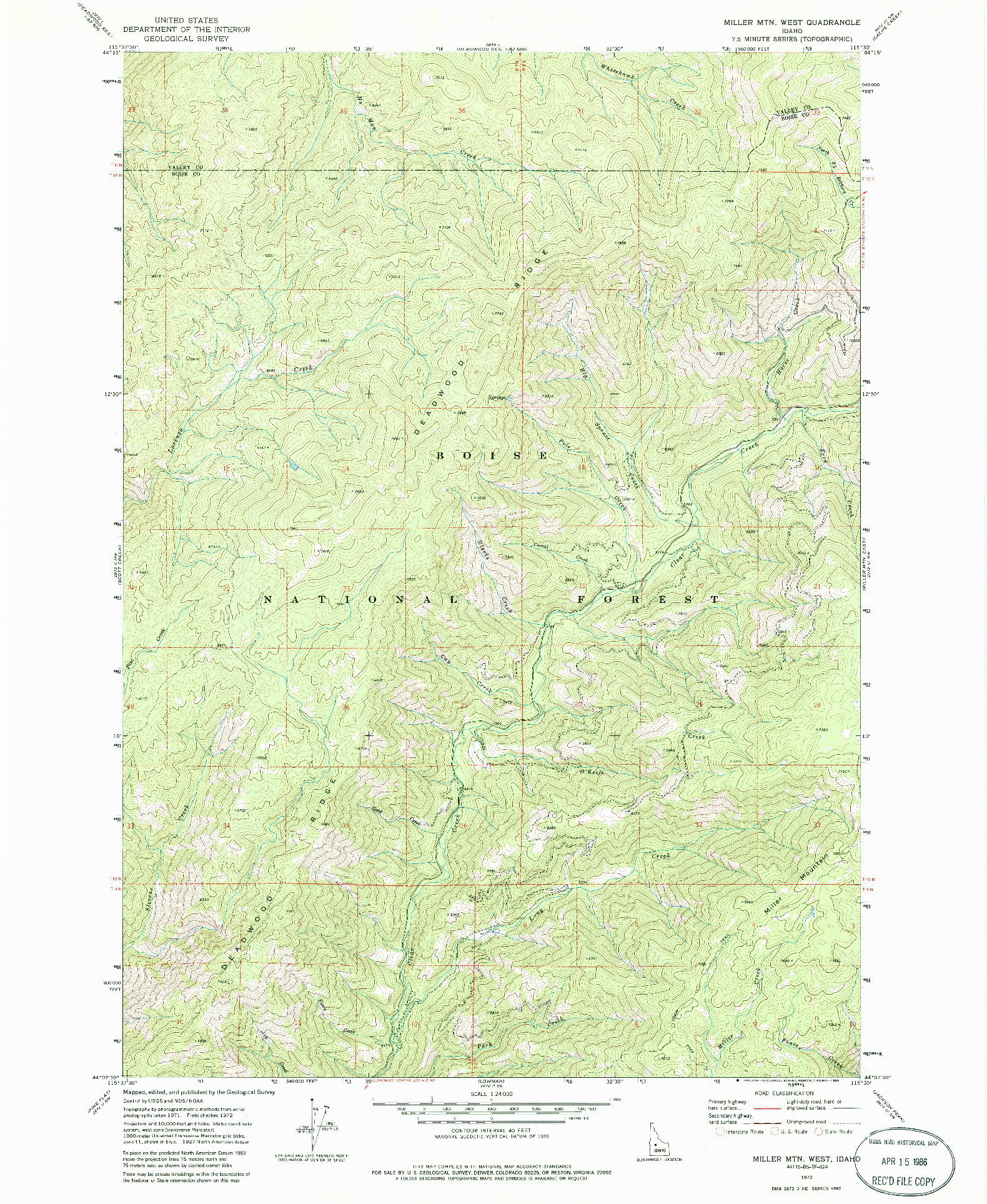 USGS 1:24000-SCALE QUADRANGLE FOR MILLER MTN WEST, ID 1972