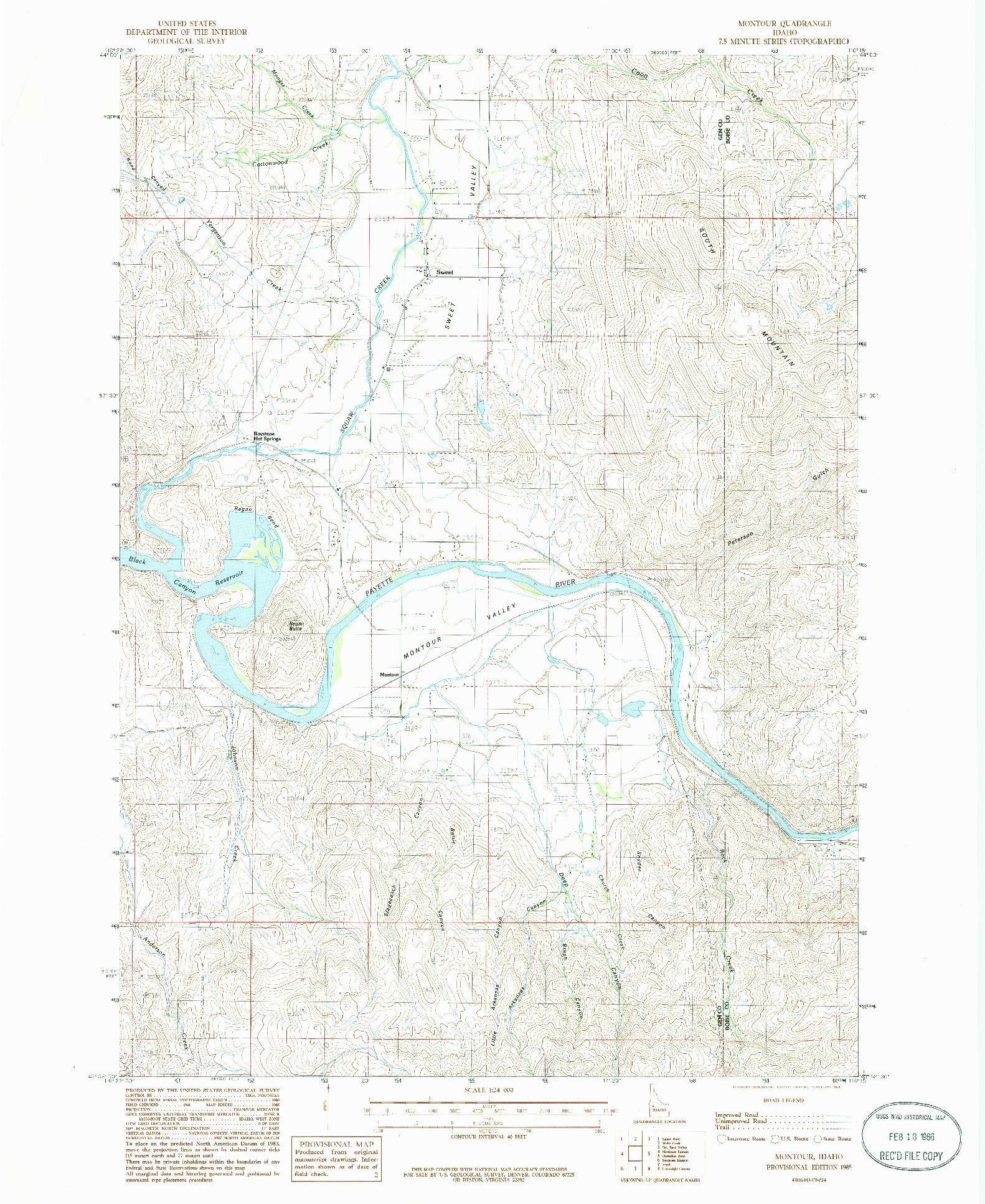 USGS 1:24000-SCALE QUADRANGLE FOR MONTOUR, ID 1985