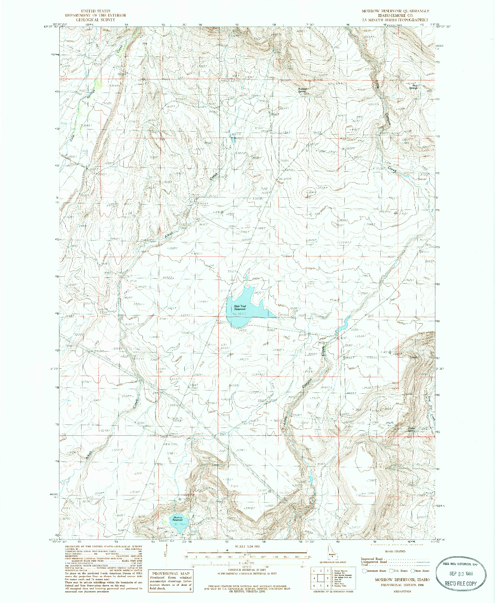 USGS 1:24000-SCALE QUADRANGLE FOR MORROW RESERVOIR, ID 1986