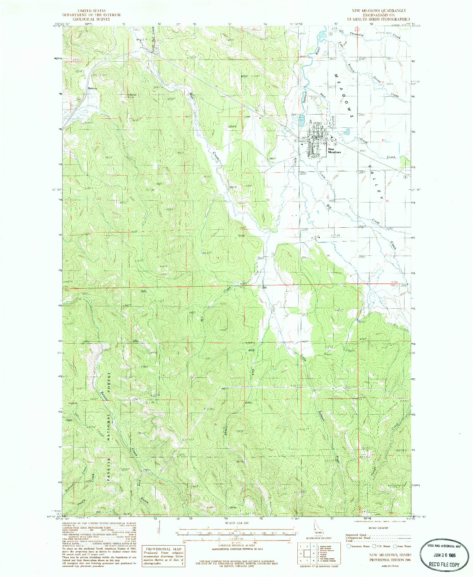 USGS 1:24000-SCALE QUADRANGLE FOR NEW MEADOWS, ID 1986