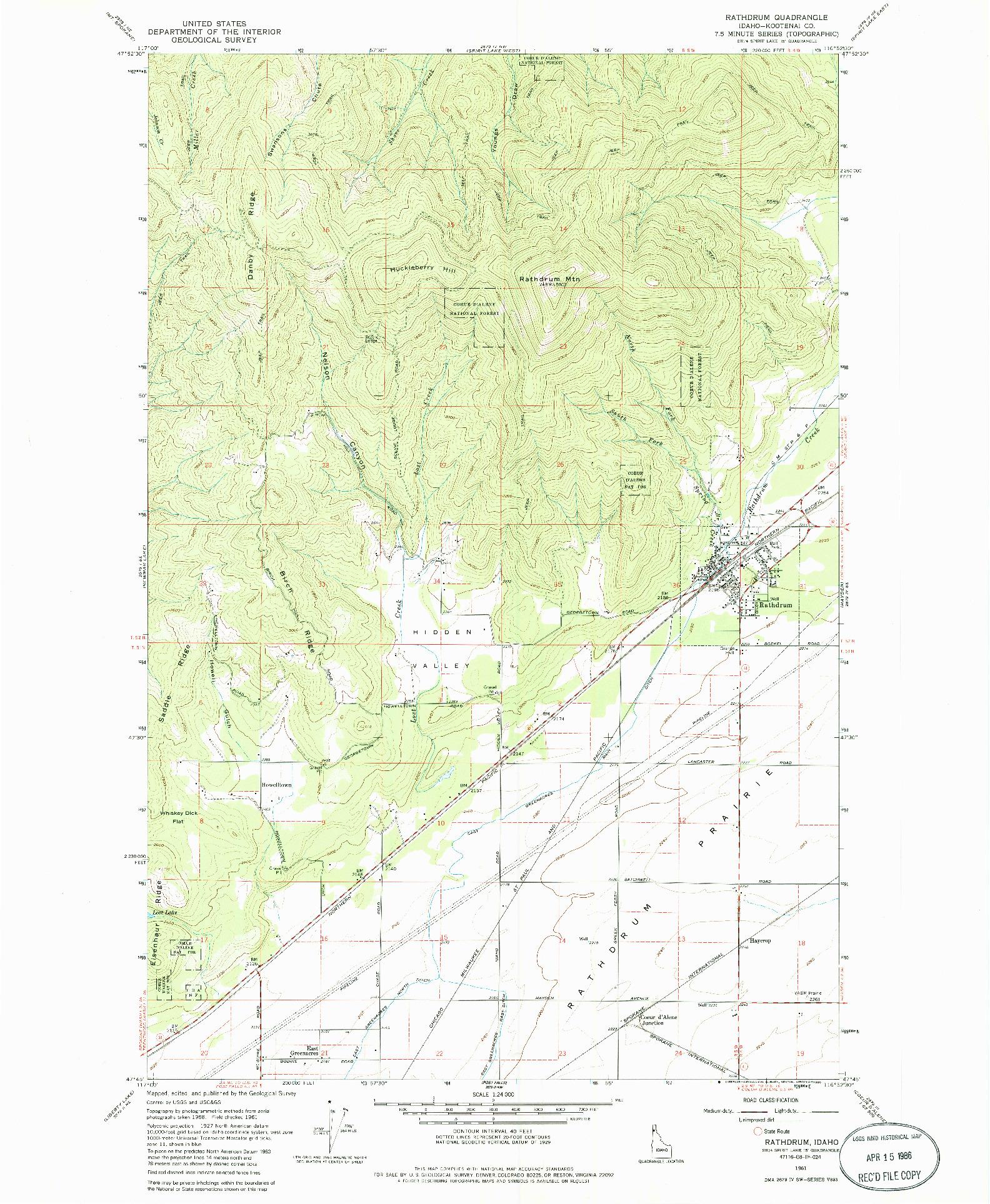 USGS 1:24000-SCALE QUADRANGLE FOR RATHDRUM, ID 1961