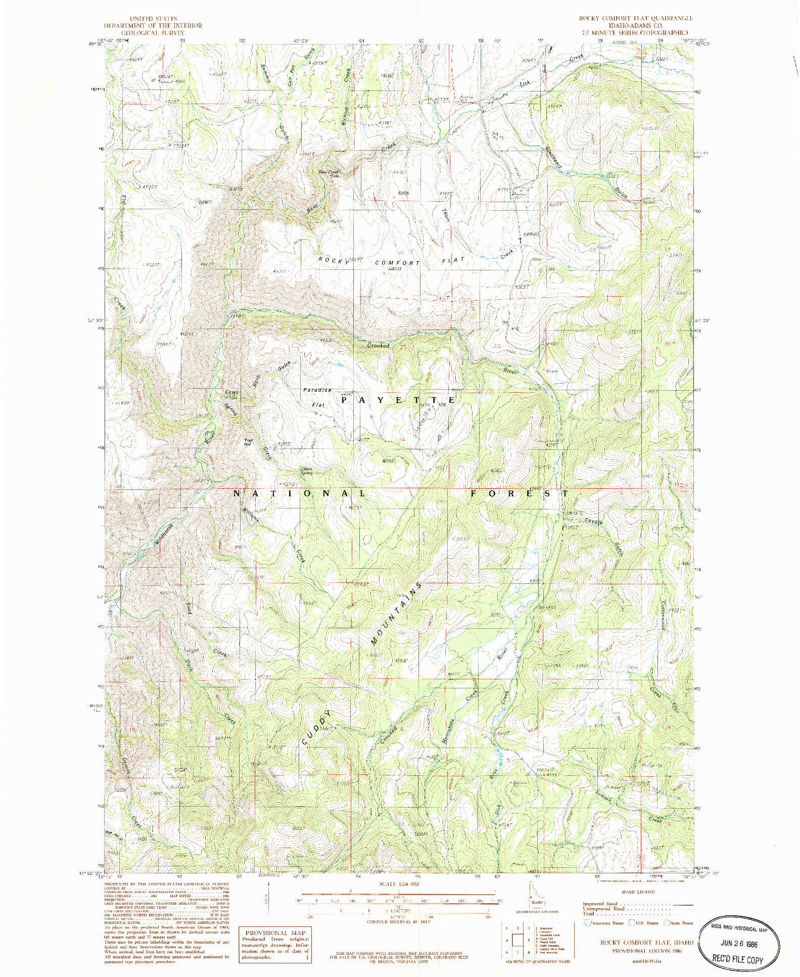 USGS 1:24000-SCALE QUADRANGLE FOR ROCKY COMFORT FLAT, ID 1986